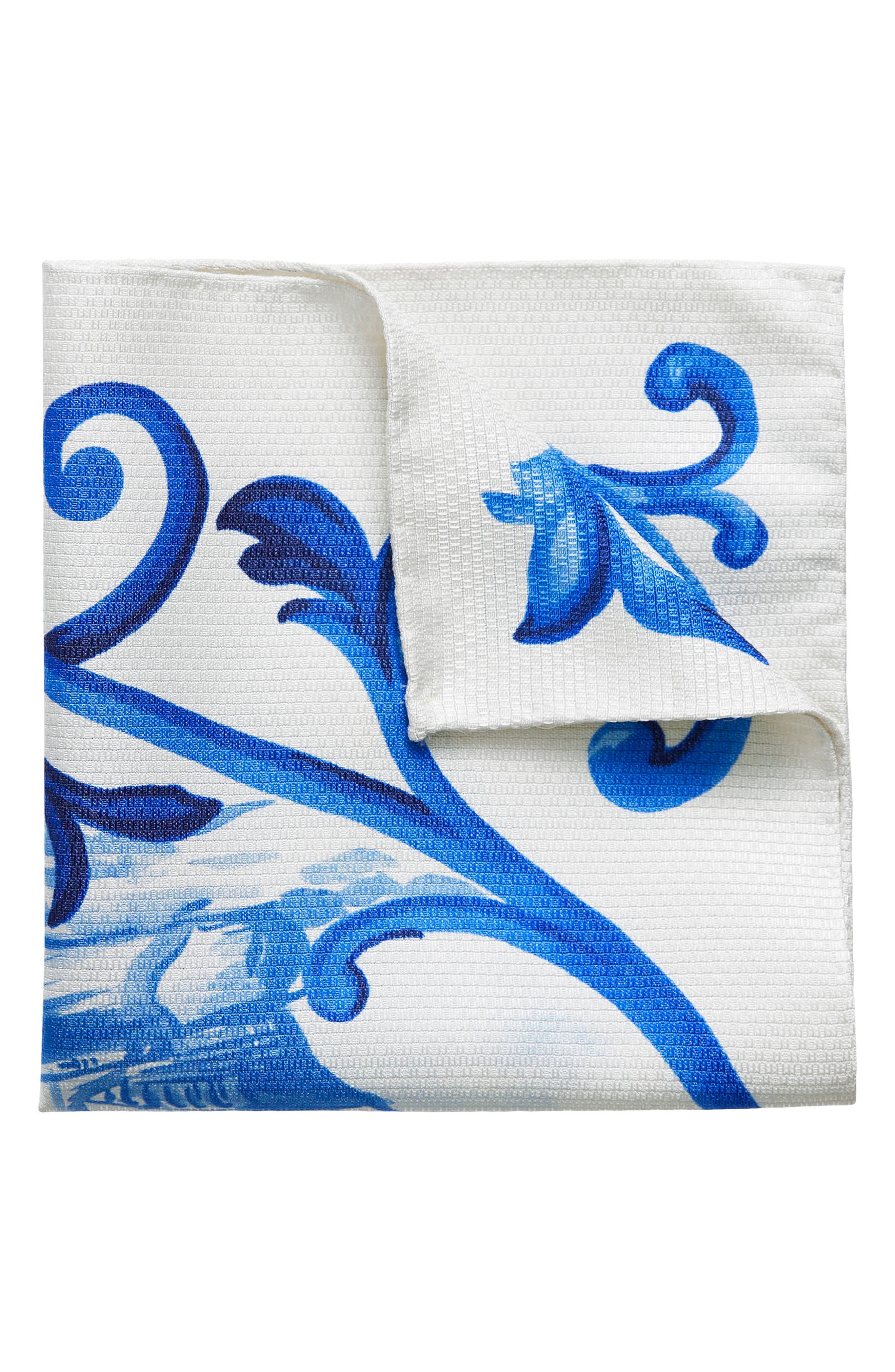 Geometric Ship Silk Pocket Square,                             Main thumbnail 1, color,                             Blue