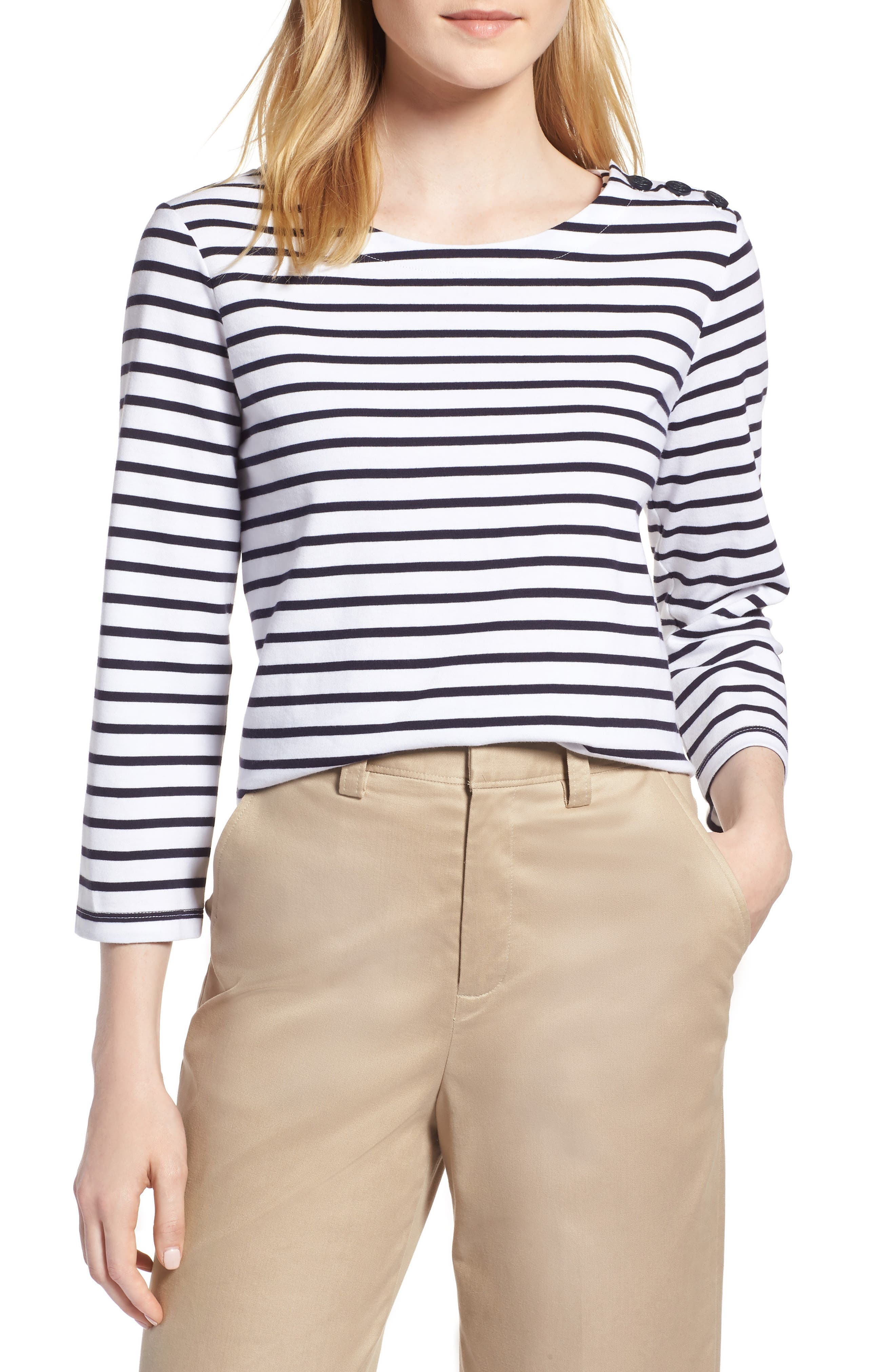 Shoulder Button Cotton Top,                         Main,                         color, White- Navy Stripe