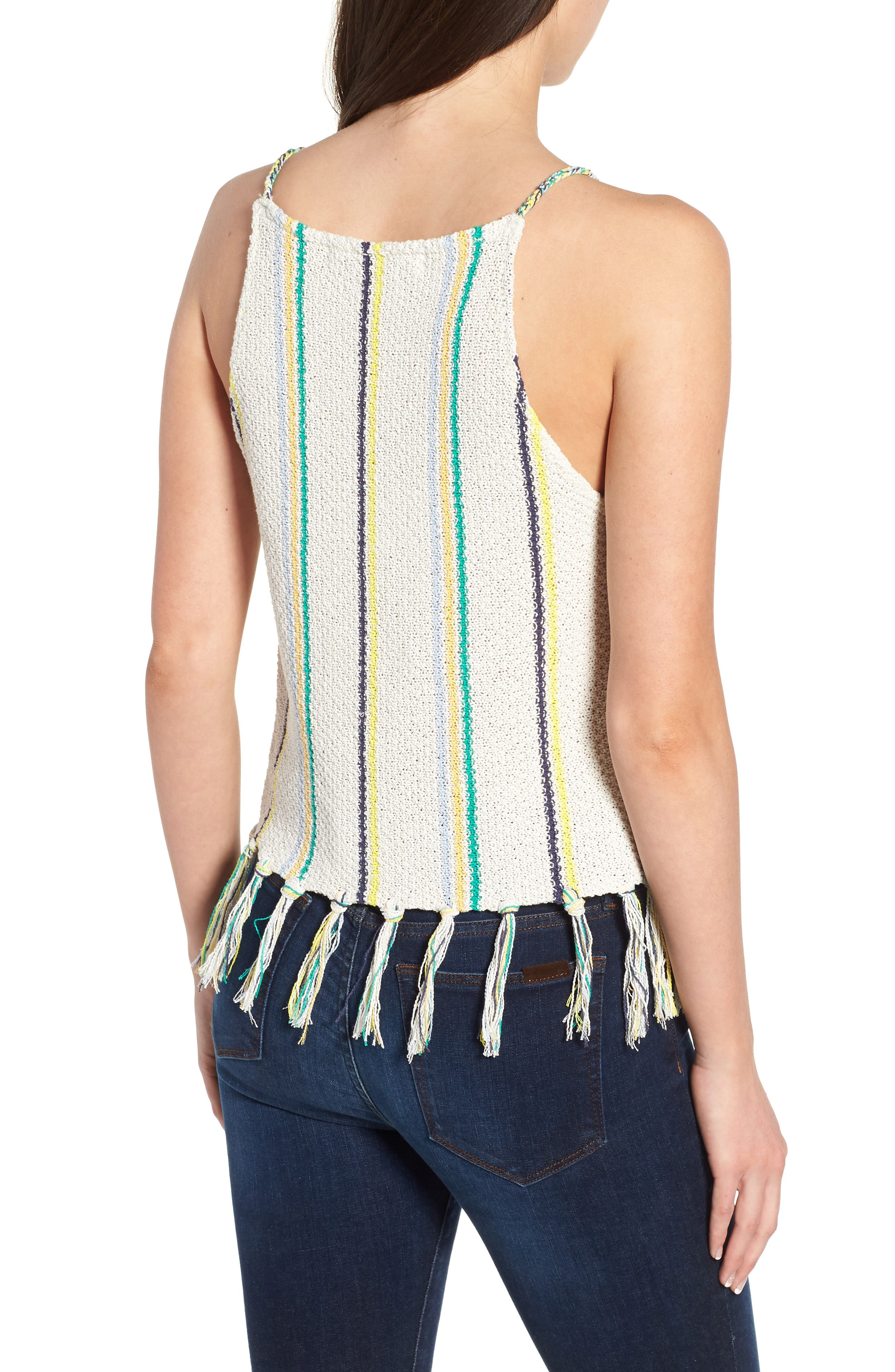 Cecille Stripe Sweater Tank,                             Alternate thumbnail 2, color,                             Oatmeal