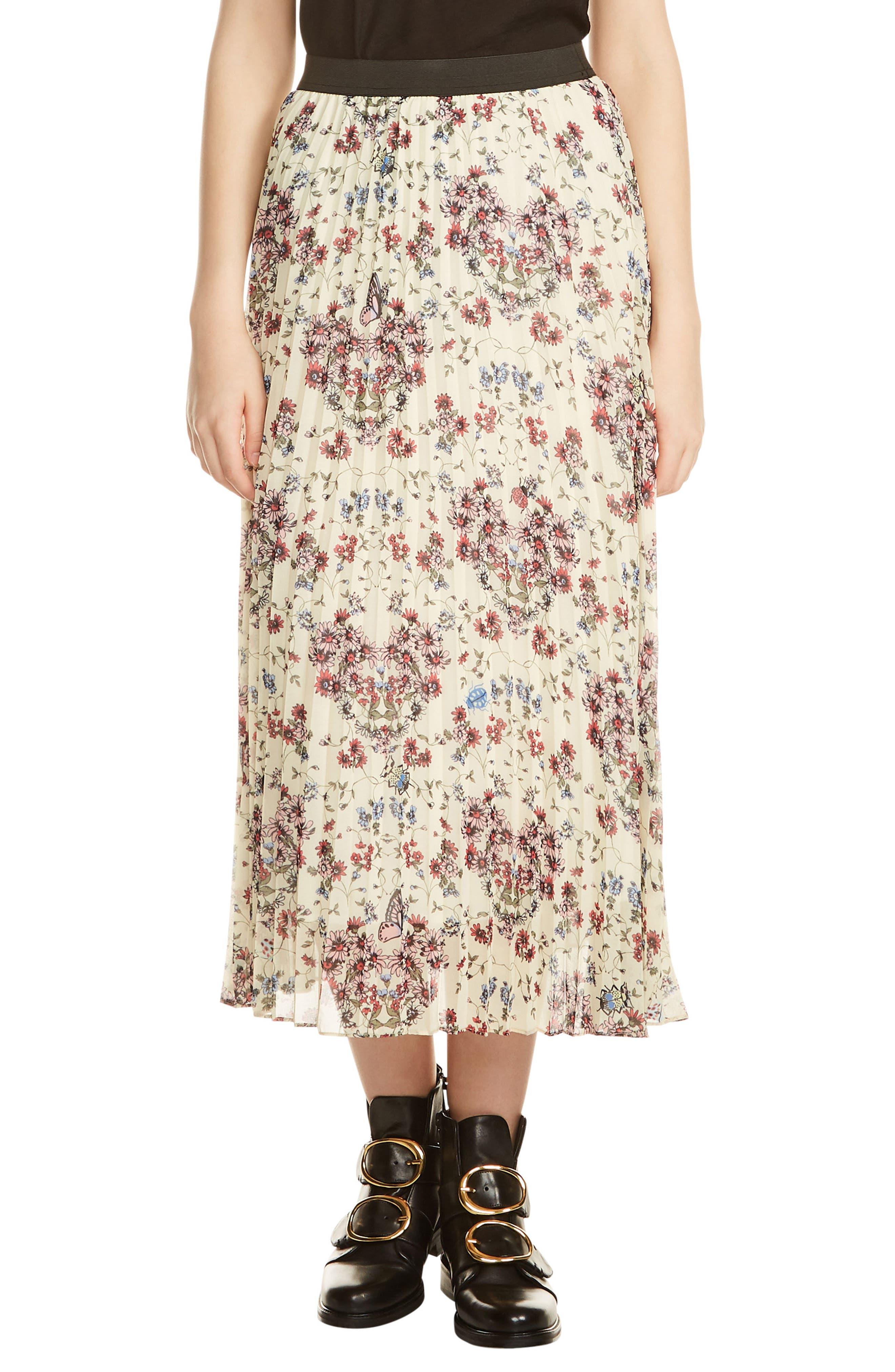 maje Floral Pleated Midi Skirt