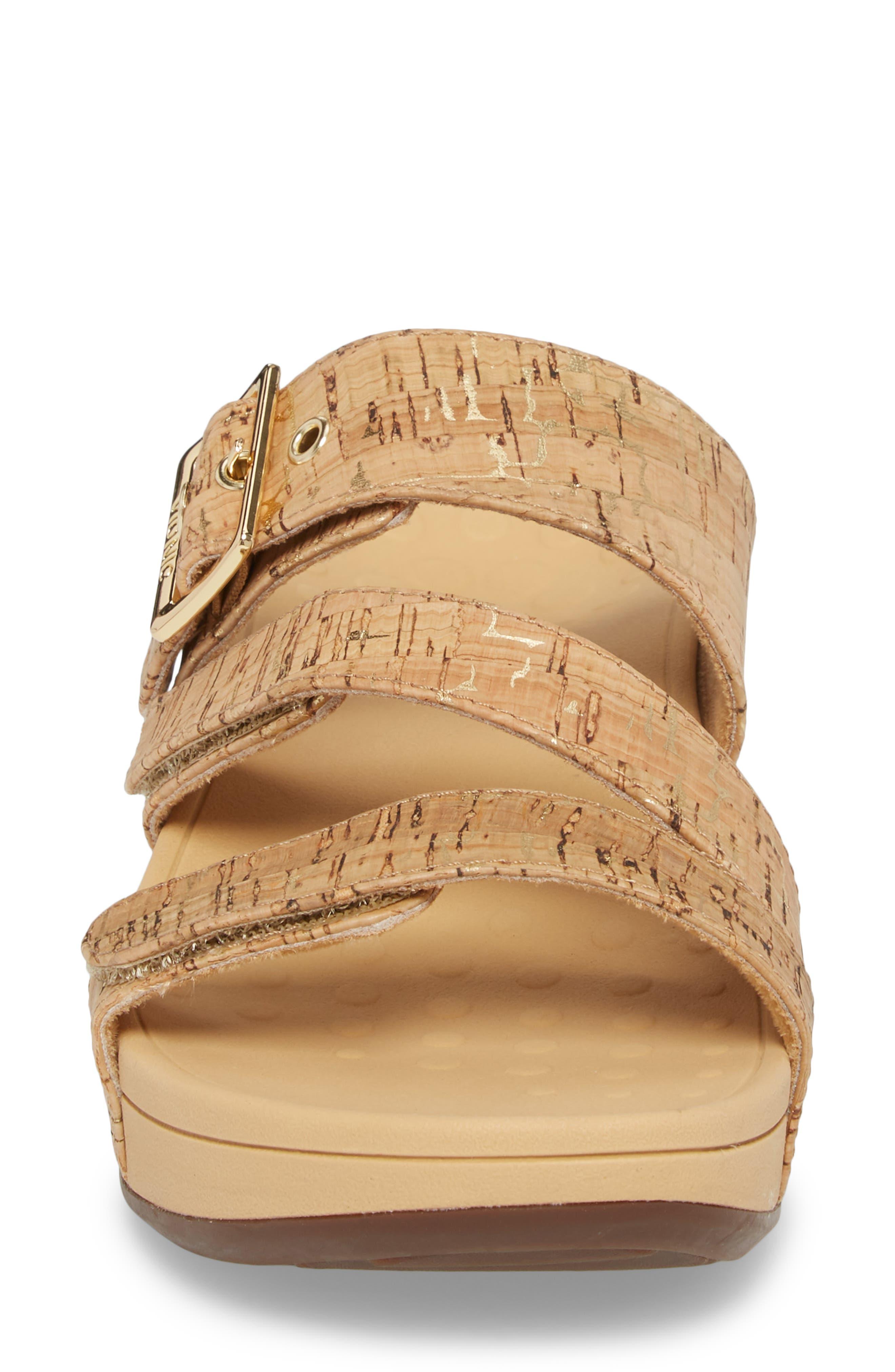 Rio Orthaheel<sup>®</sup> Slide Sandal,                             Alternate thumbnail 4, color,                             Gold Cork Fabric