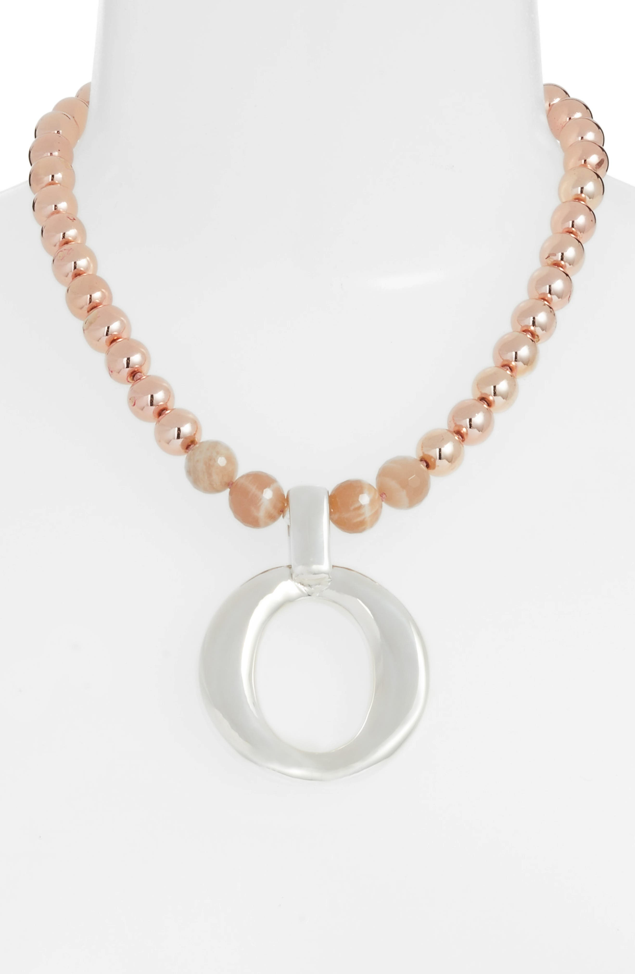 Hematite & Moonstone Necklace,                             Alternate thumbnail 2, color,                             Pink/ Silver
