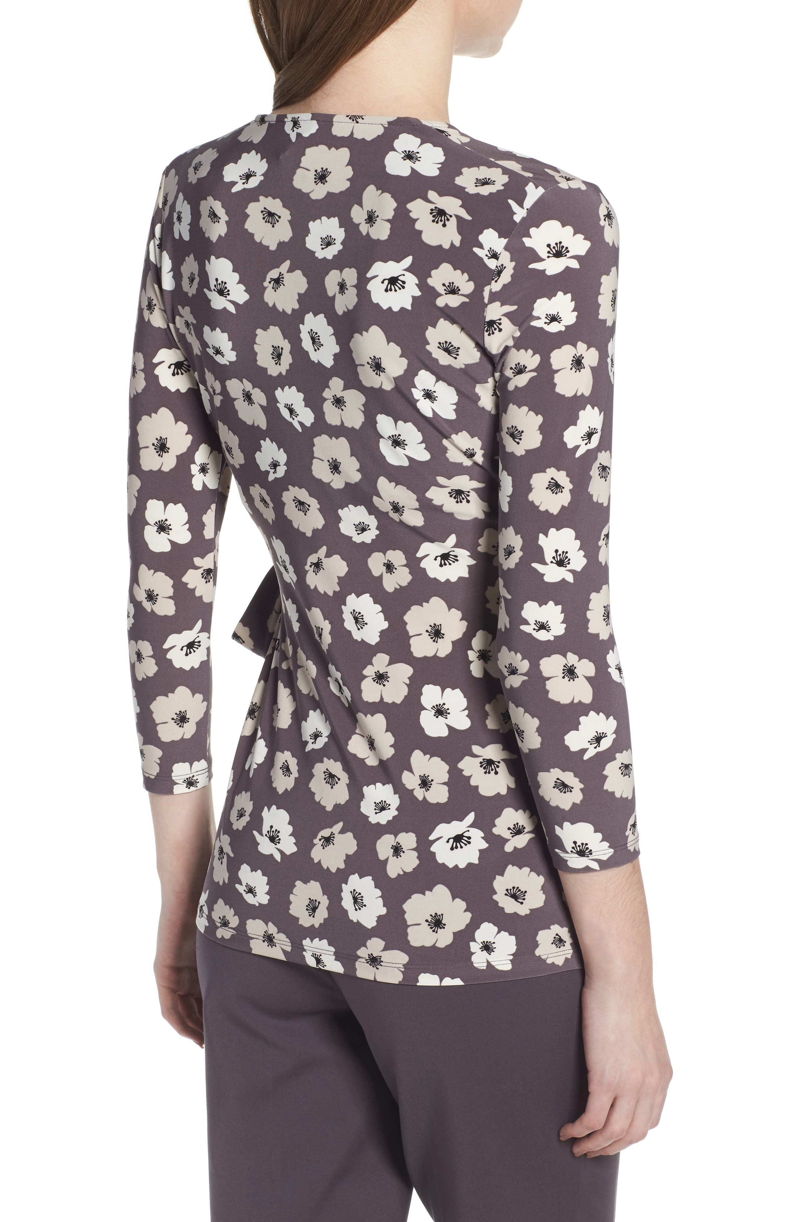Faux Wrap Floral Top,                             Alternate thumbnail 2, color,                             Nantucket Grey/ Oyster Shell