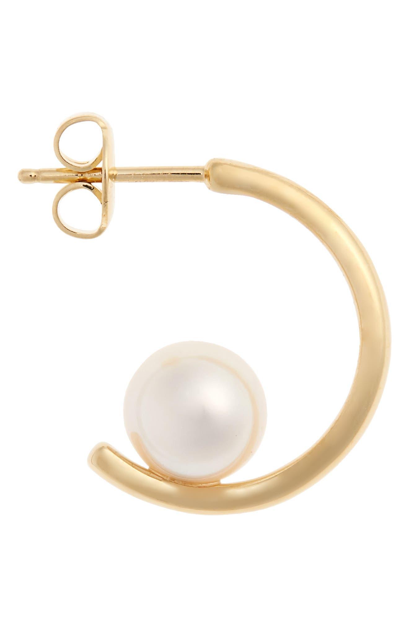 Floating Pearl Mini Hoop Earring,                             Alternate thumbnail 4, color,                             Yellow Gold