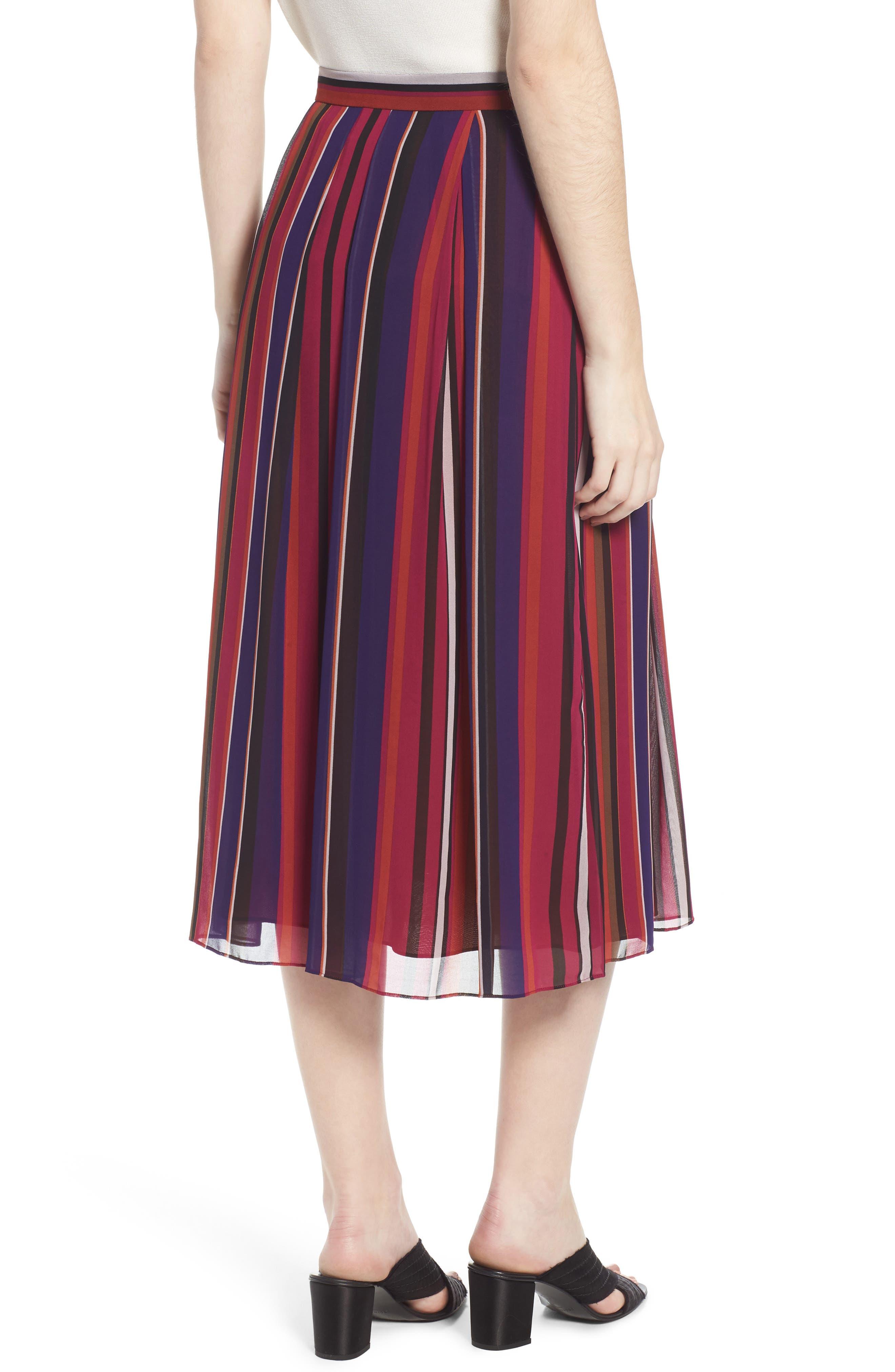 Striped Midi Skirt,                             Alternate thumbnail 2, color,                             African Violet Combo