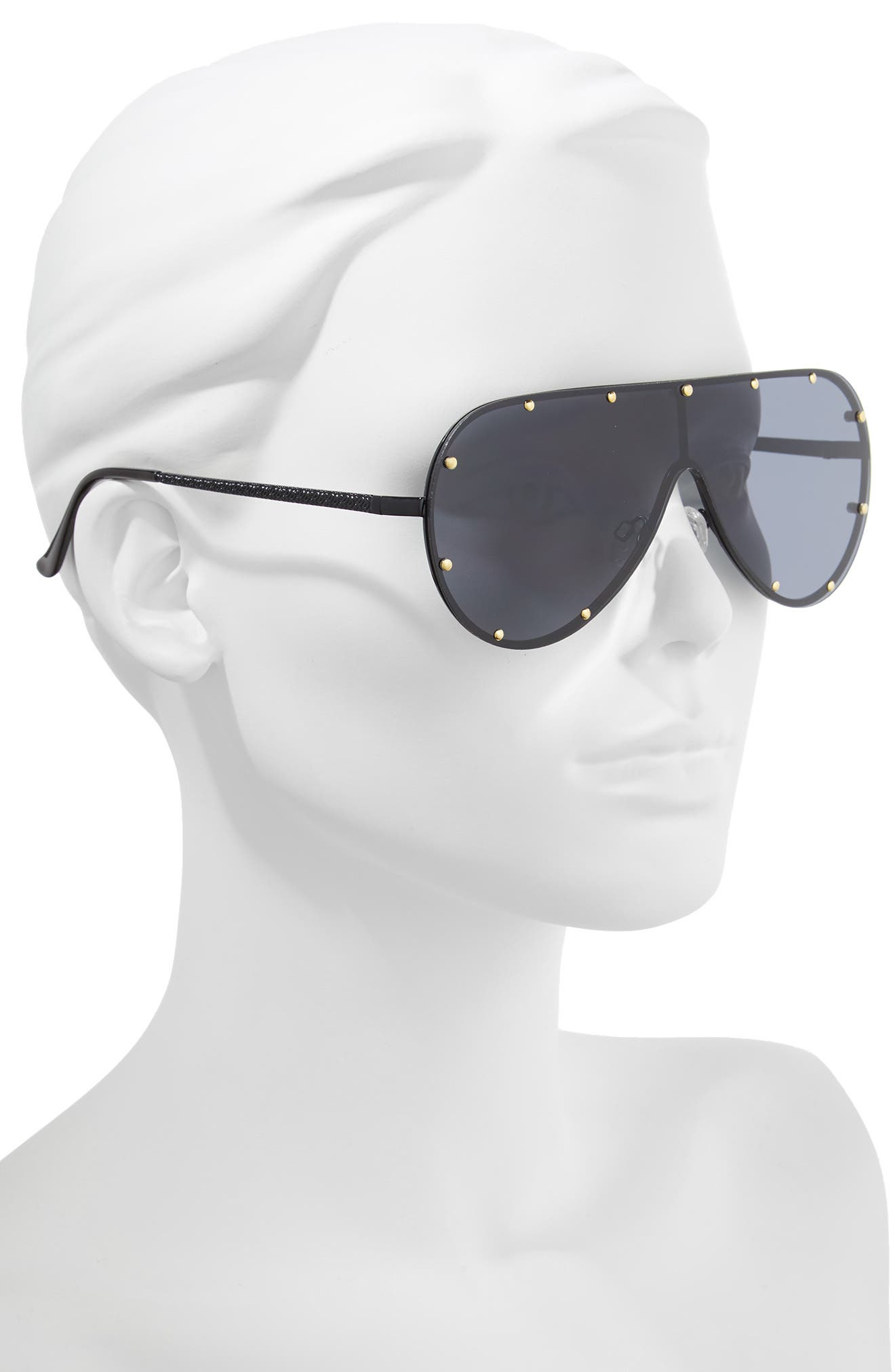65mm Studded Shield Sunglasses,                             Alternate thumbnail 2, color,                             Black