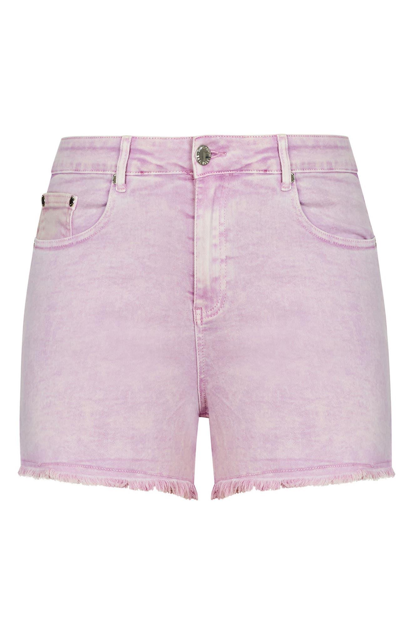 Fray Hem Denim Shorts,                             Alternate thumbnail 4, color,                             Lilac