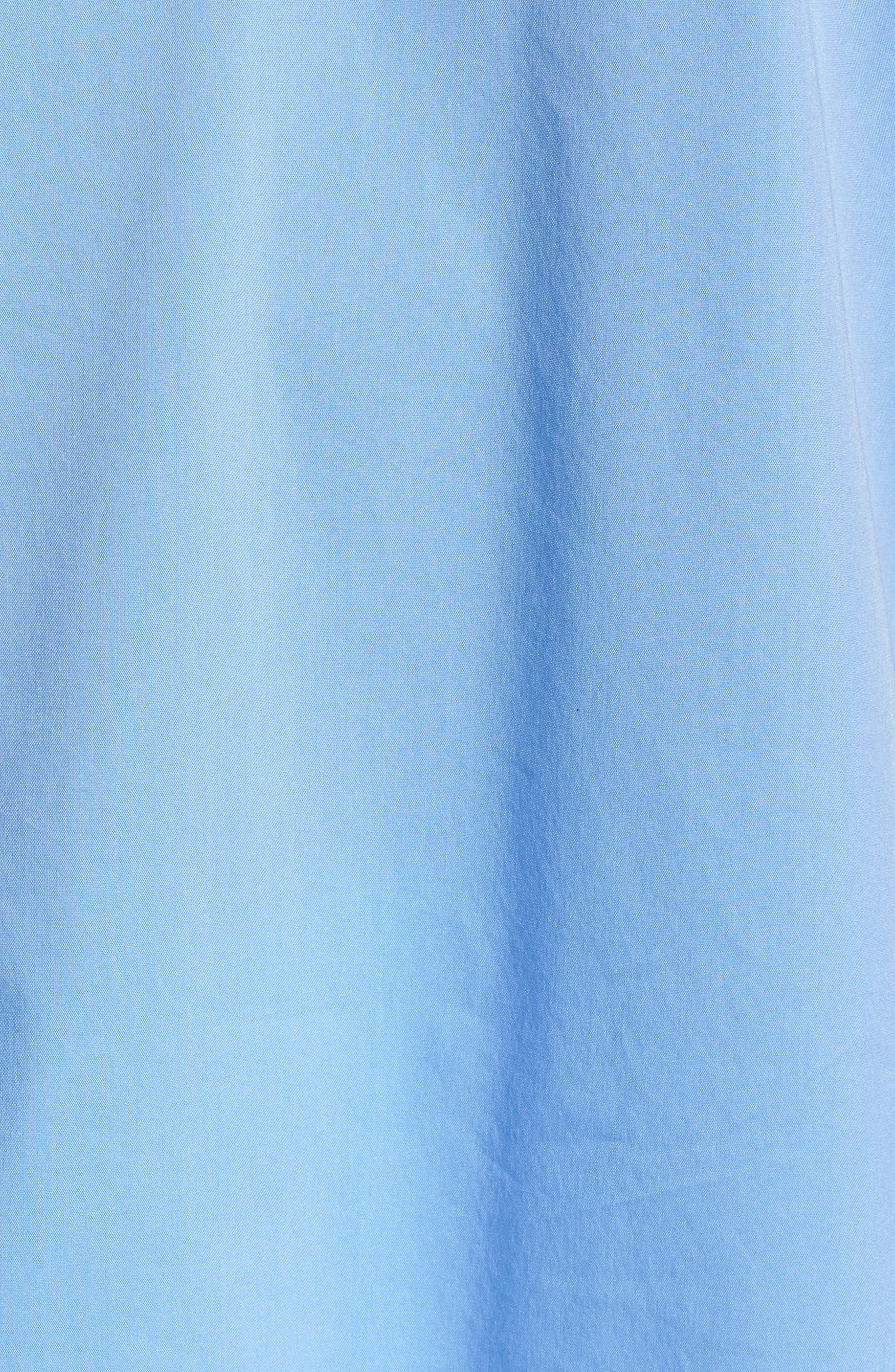 Ruffle Cotton Poplin Blend Top,                             Alternate thumbnail 4, color,                             Blue Cornflower