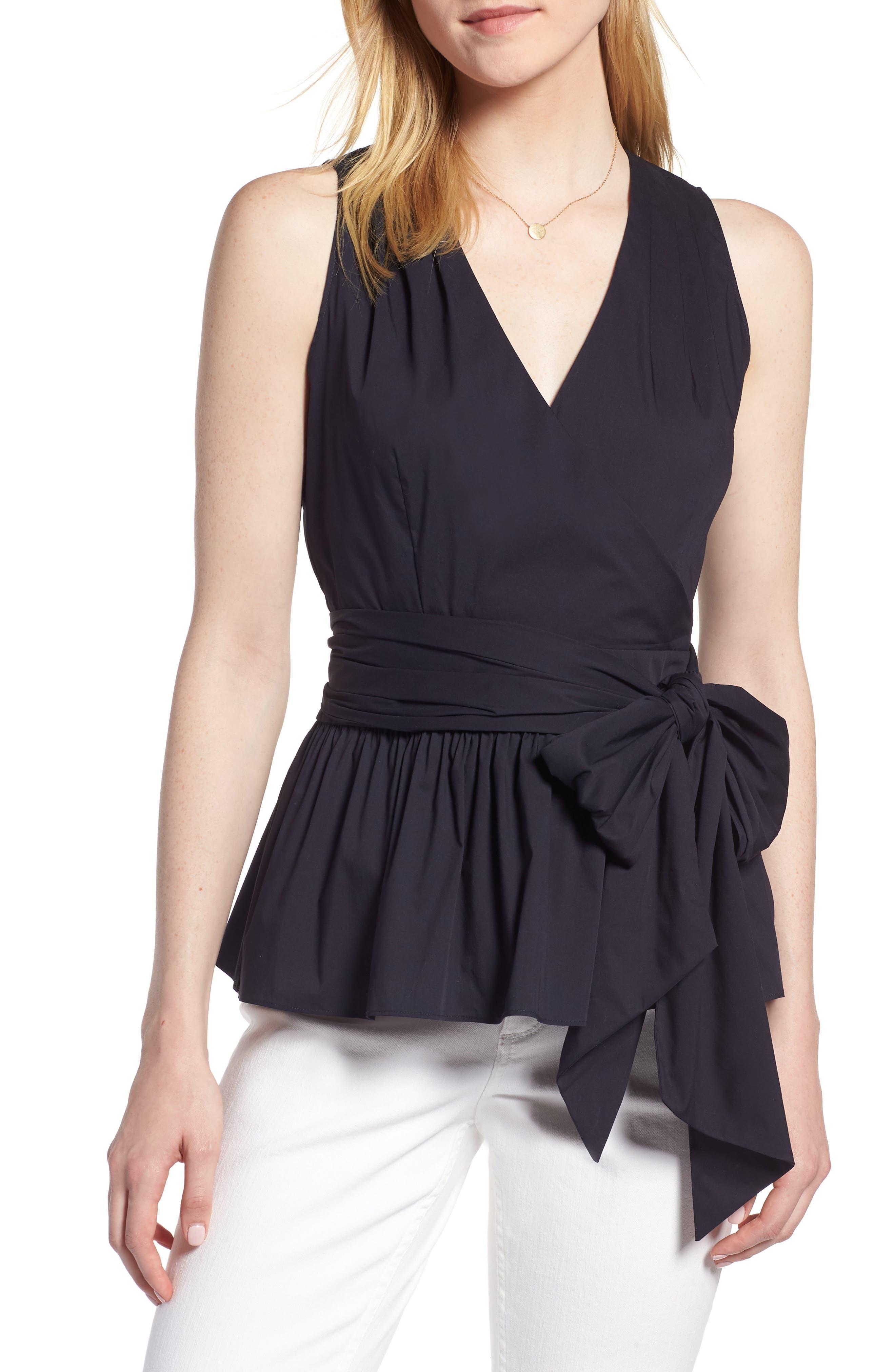 Cotton Blend Wrap Blouse,                         Main,                         color, Navy Night