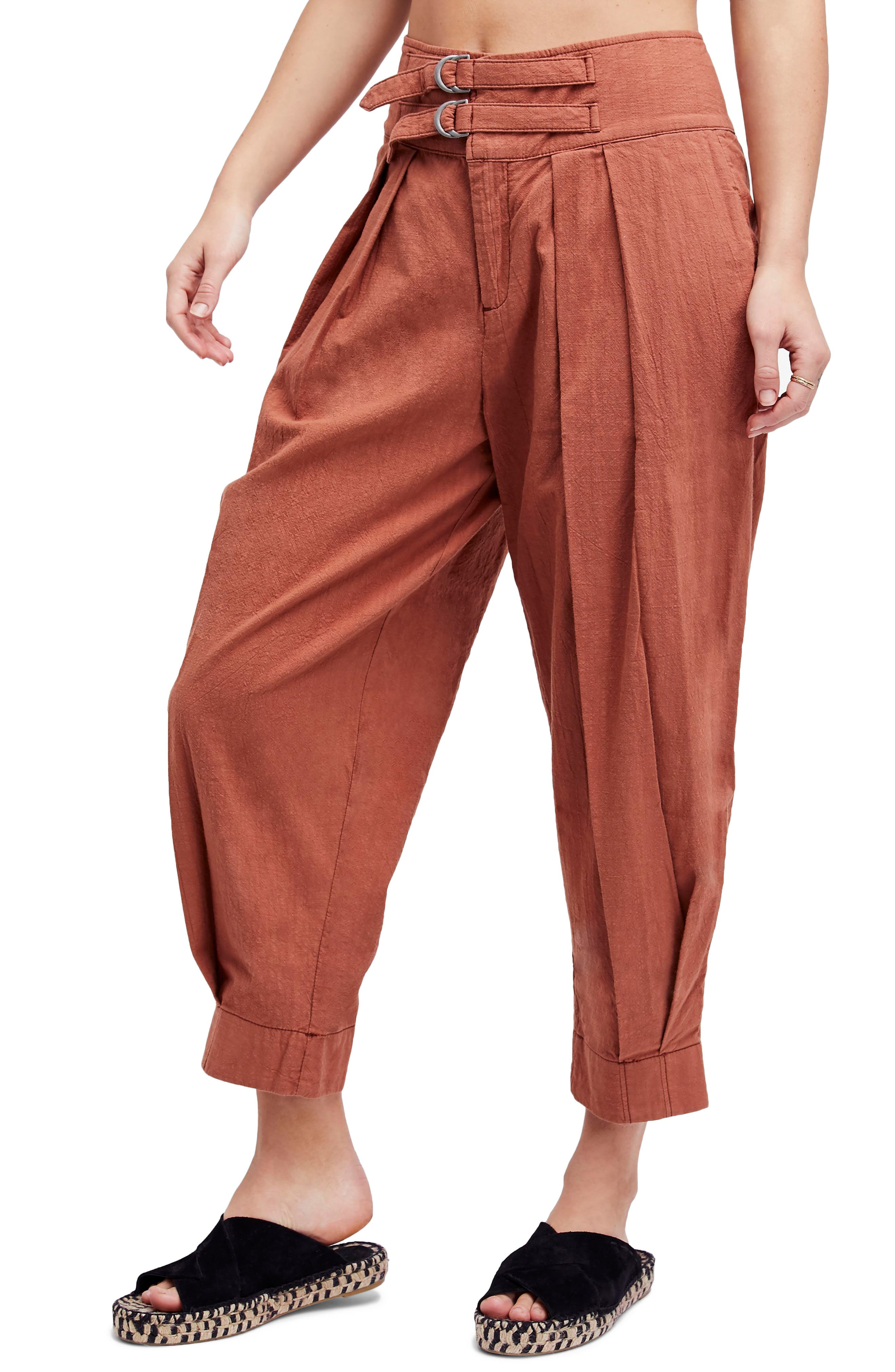 Double Buckle Crop Trousers,                         Main,                         color, Brown
