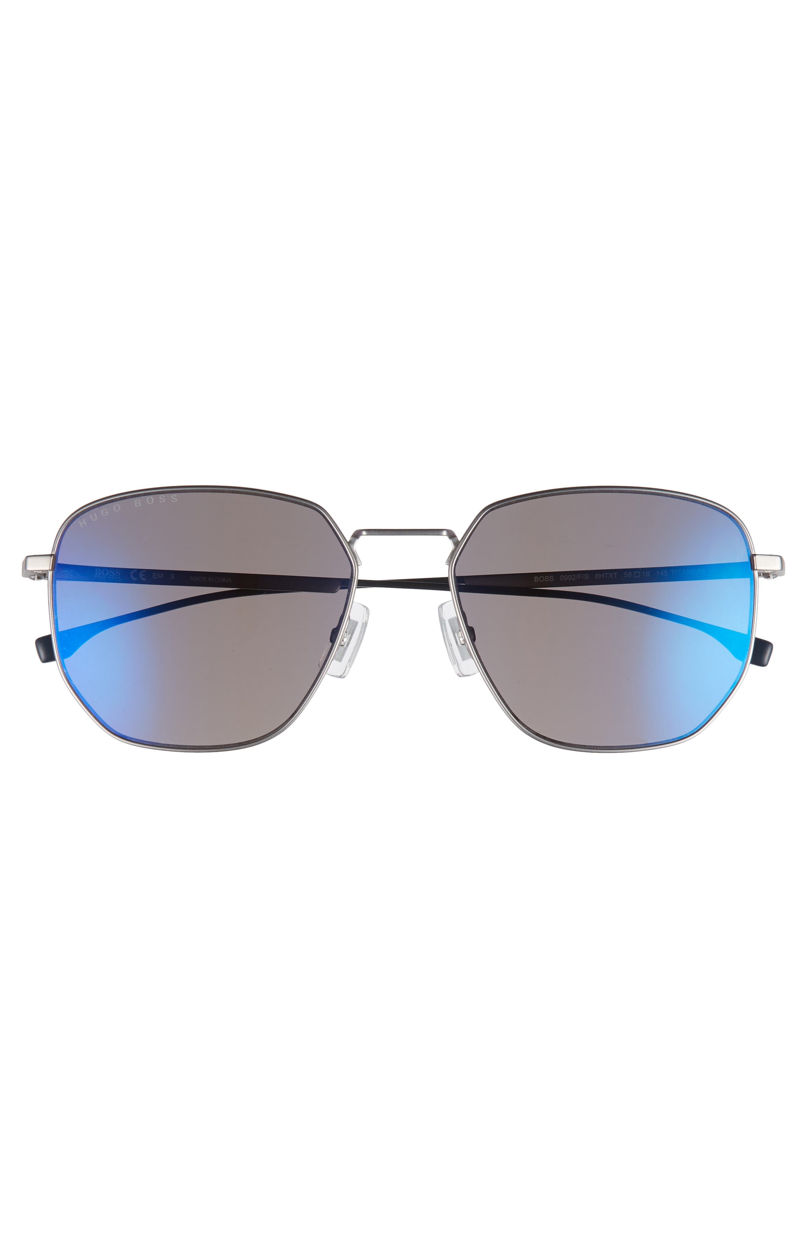 Special Fit 58mm Polarized Titanium Aviator Sunglasses,                             Alternate thumbnail 2, color,                             Grey/ Blue