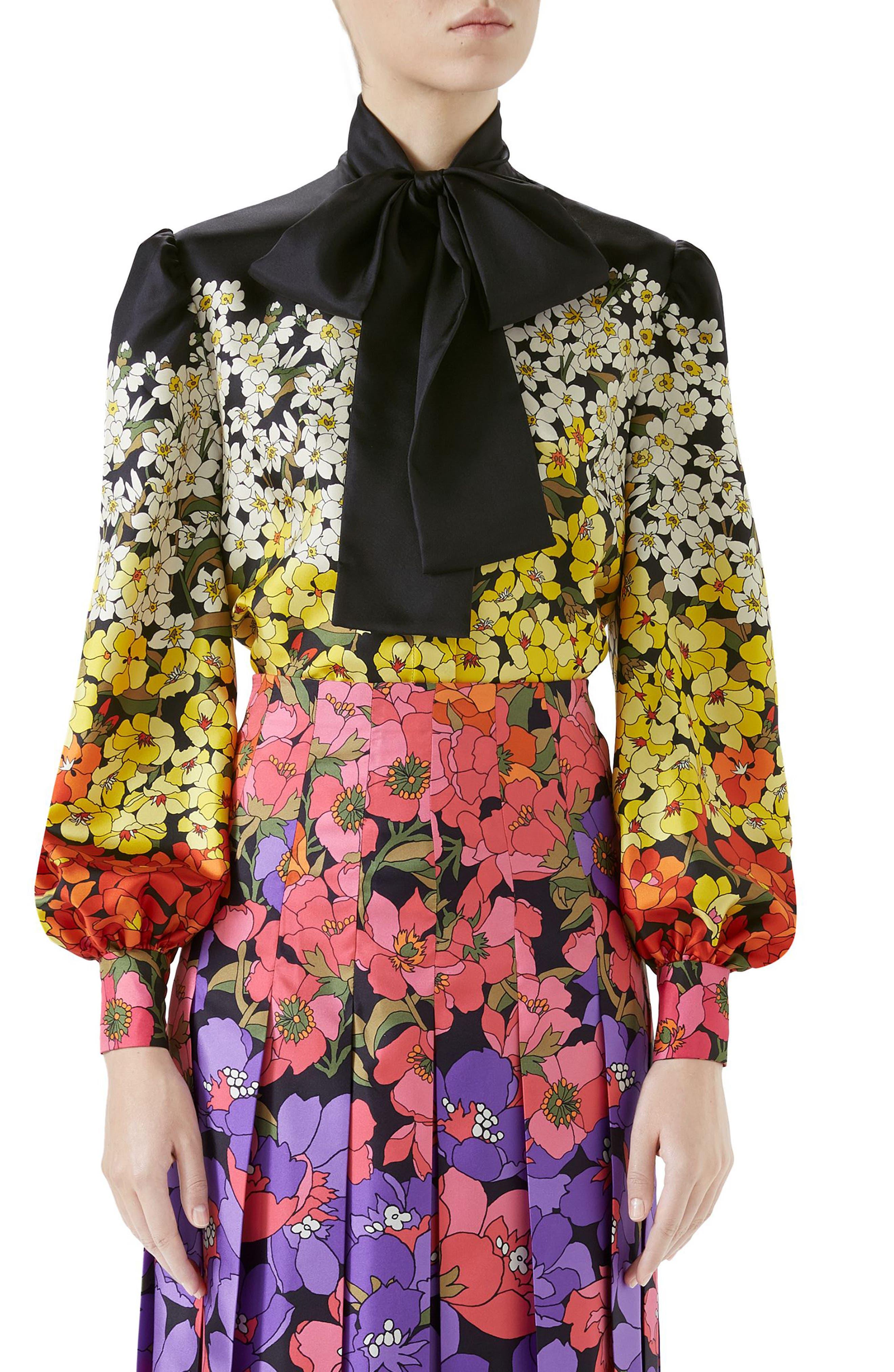 Dégradé Floral Print Silk Tie Neck Blouse,                             Main thumbnail 1, color,                             Black/ Purple Print