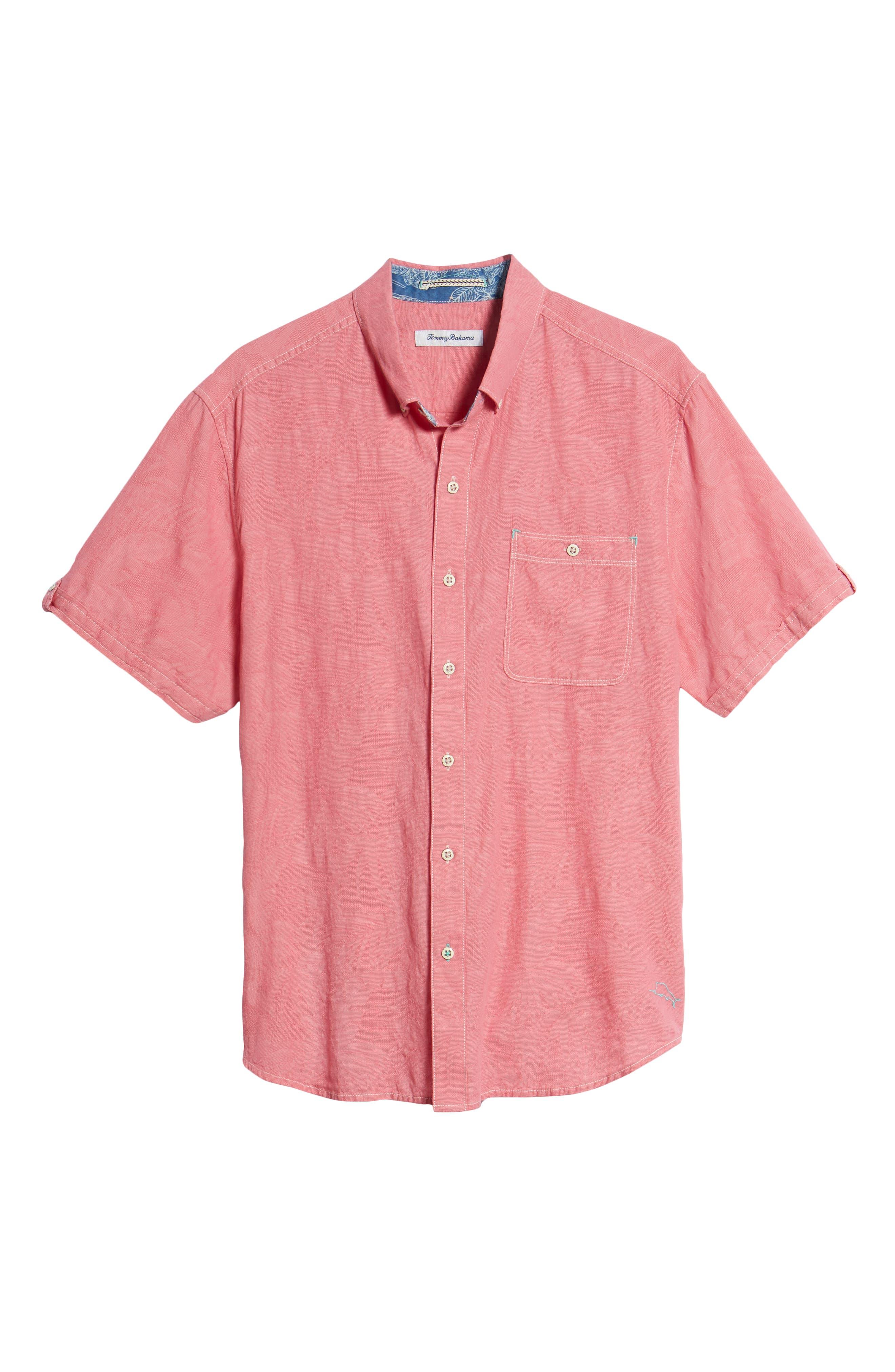 Desert Fronds Sport Shirt,                             Alternate thumbnail 6, color,                             Bright Rose