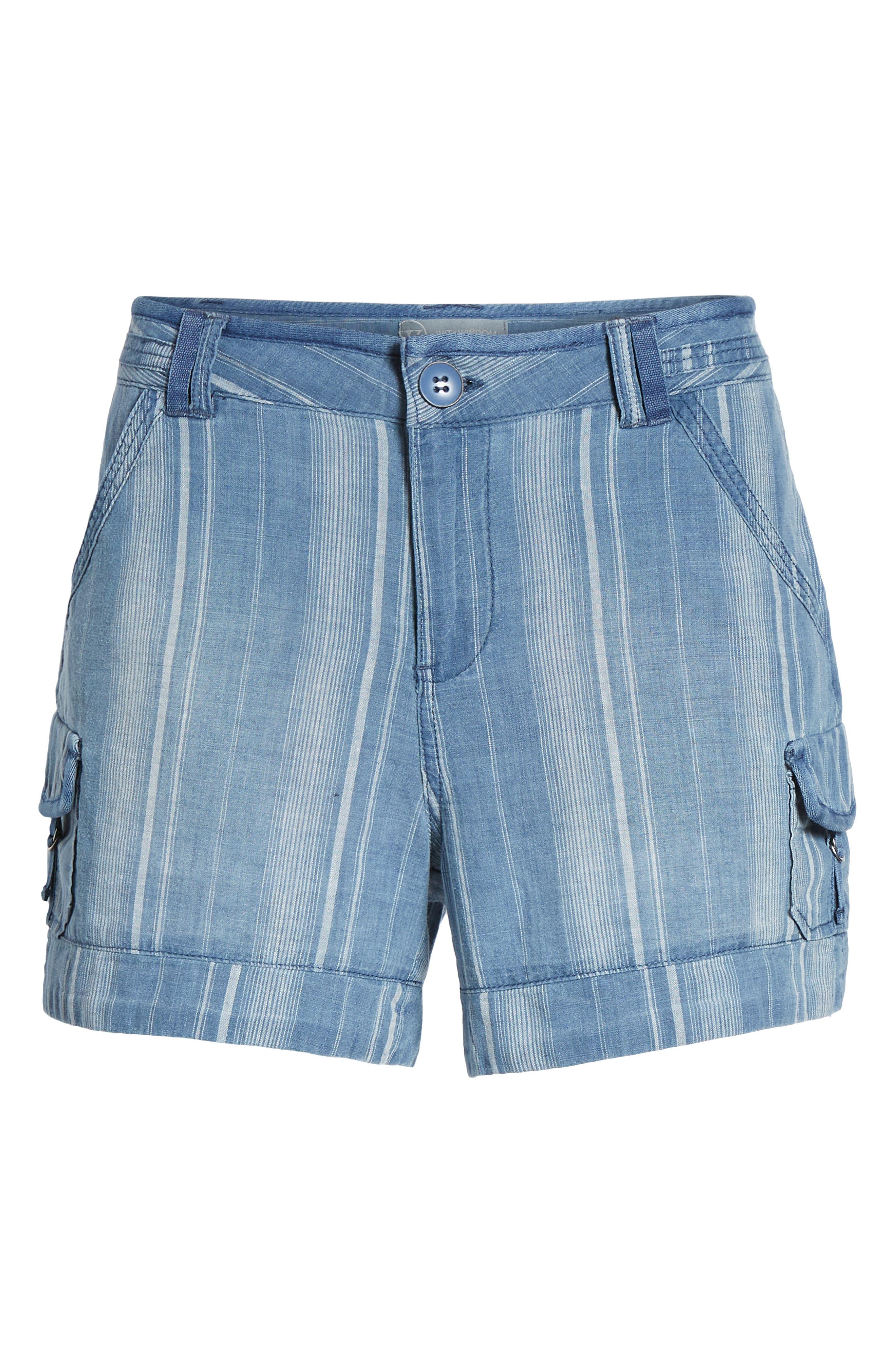 High Rise Striped Shorts,                             Alternate thumbnail 6, color,                             Blue Stripe