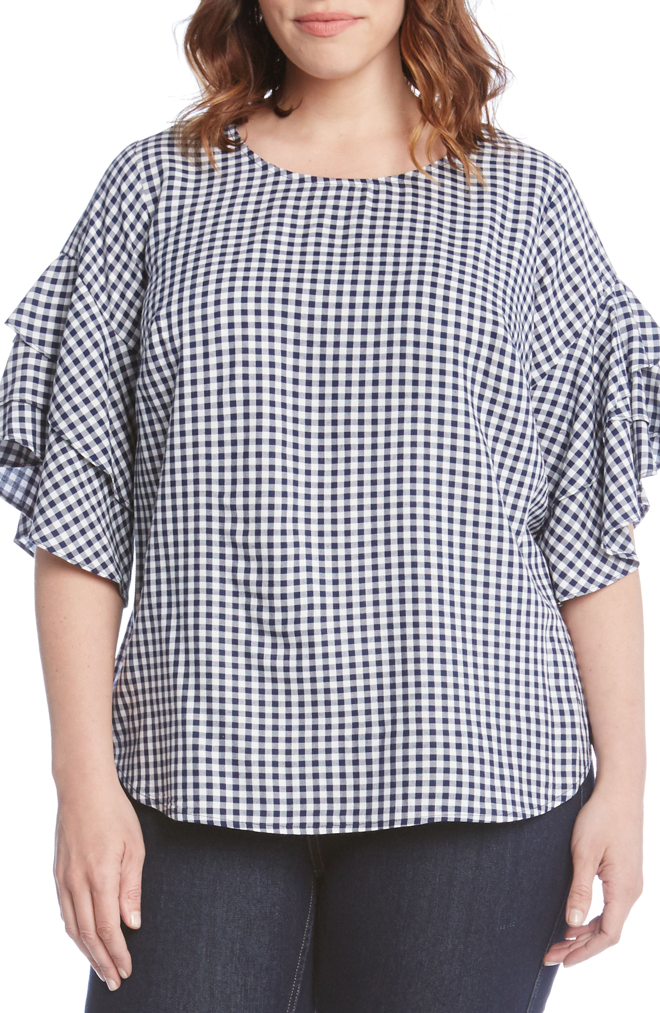 Ruffle Sleeve Gingham Blouse,                         Main,                         color, Check