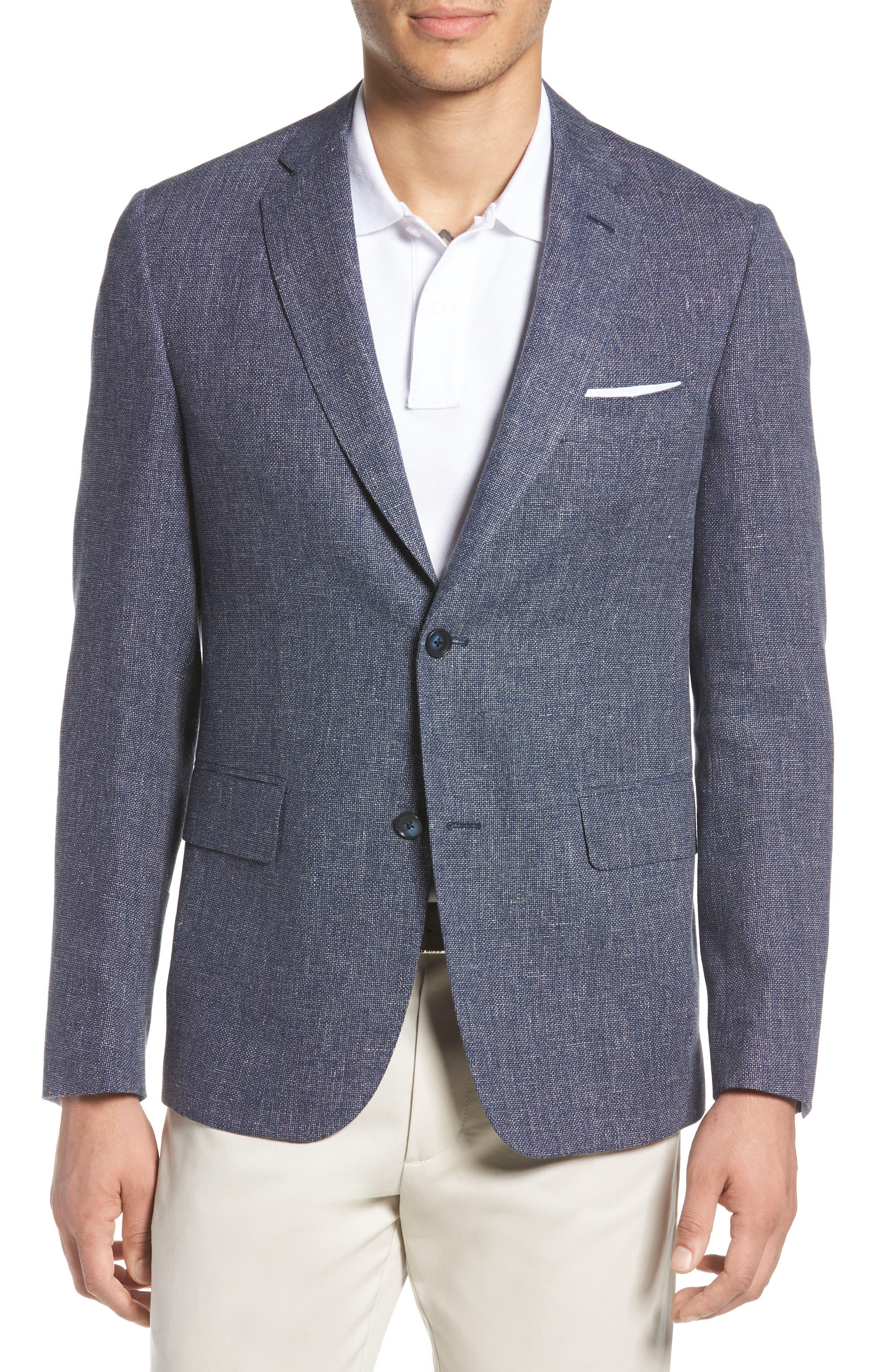 Traditional Fit Mélange Wool & Linen Sport Coat,                         Main,                         color, Blue