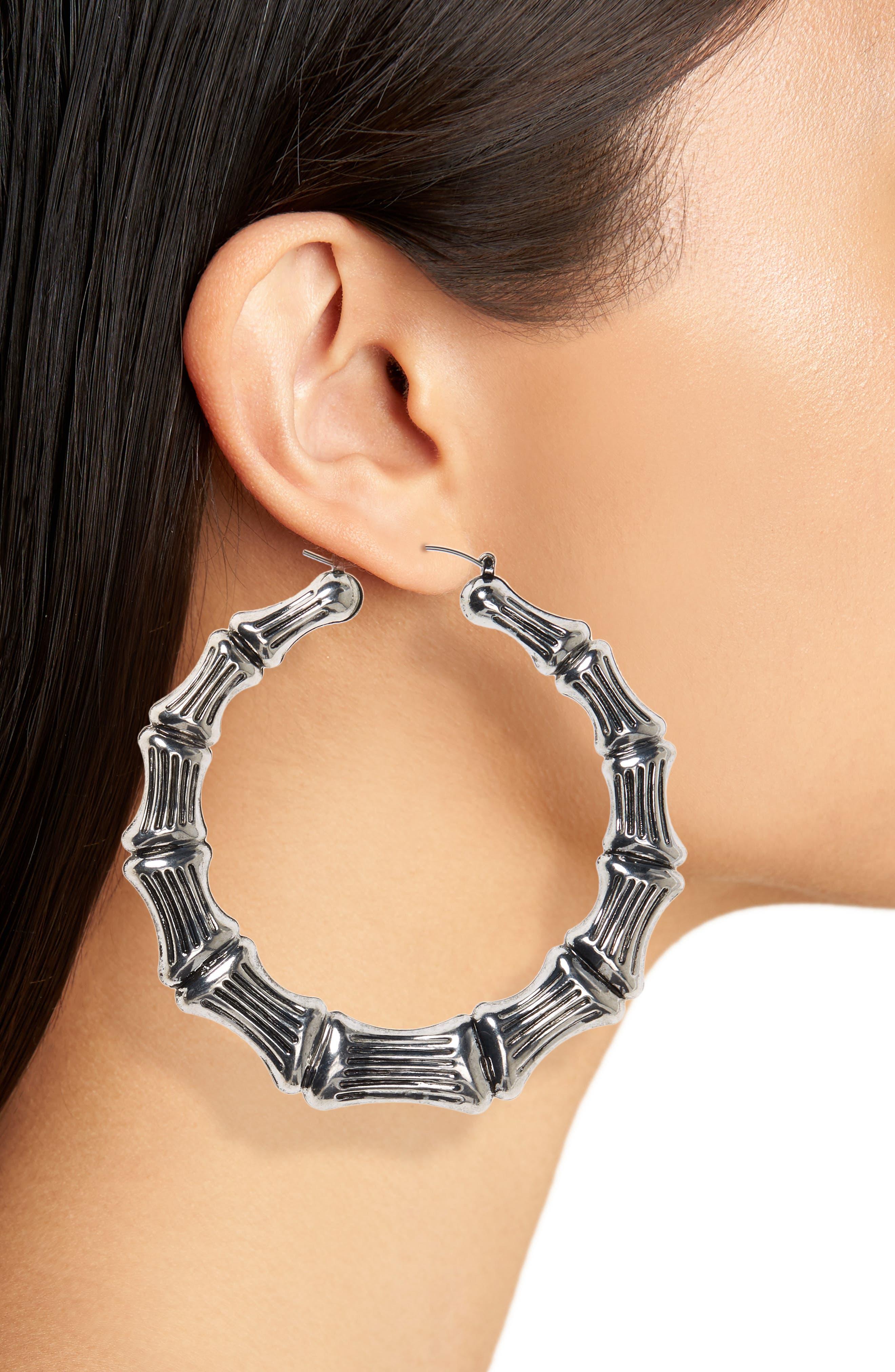 Bamboo Hoop Earrings,                             Alternate thumbnail 2, color,                             Burnish Silver