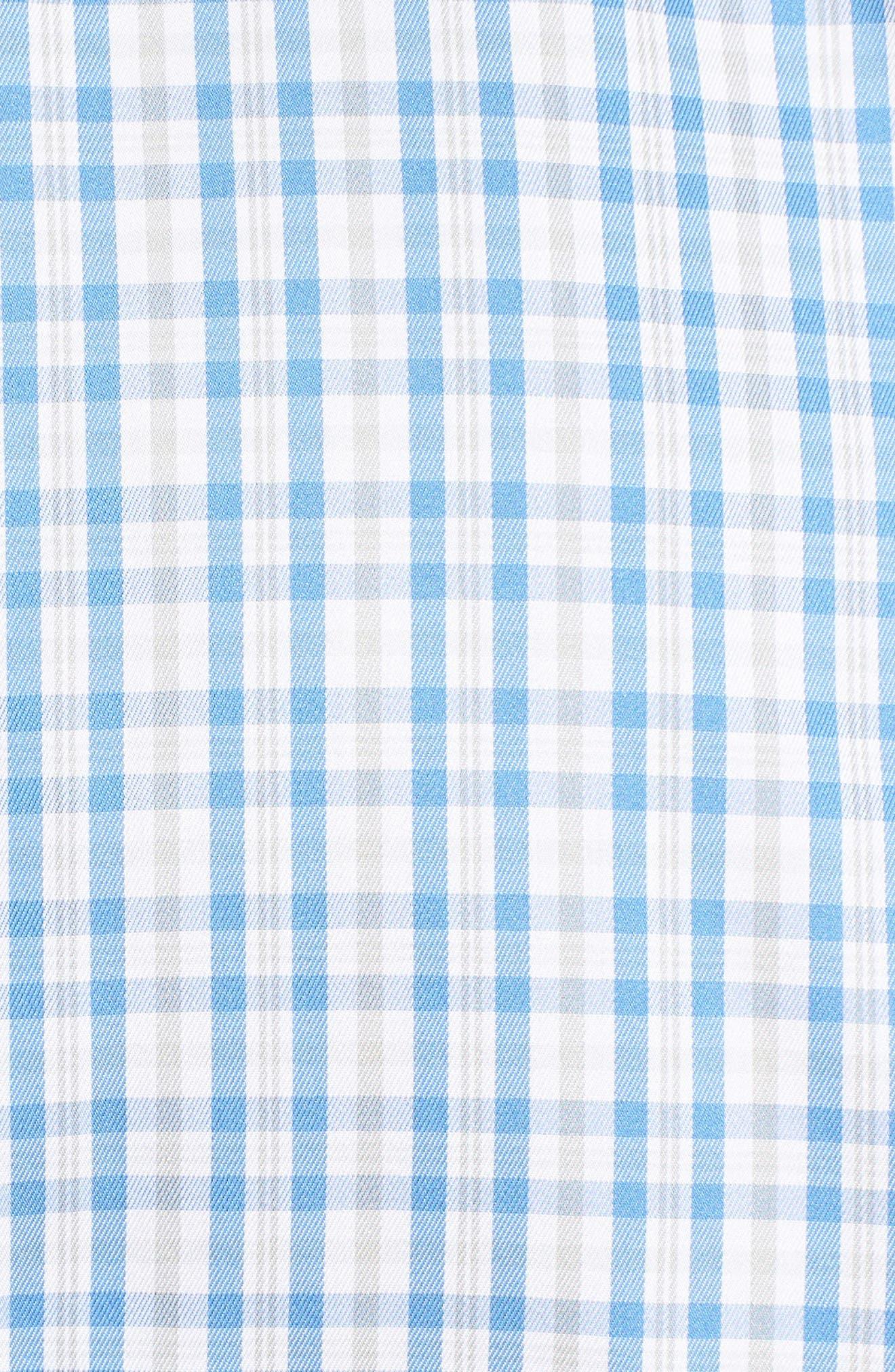 Crown Soft First Hill Plaid Sport Shirt,                             Alternate thumbnail 5, color,                             Marina Blue