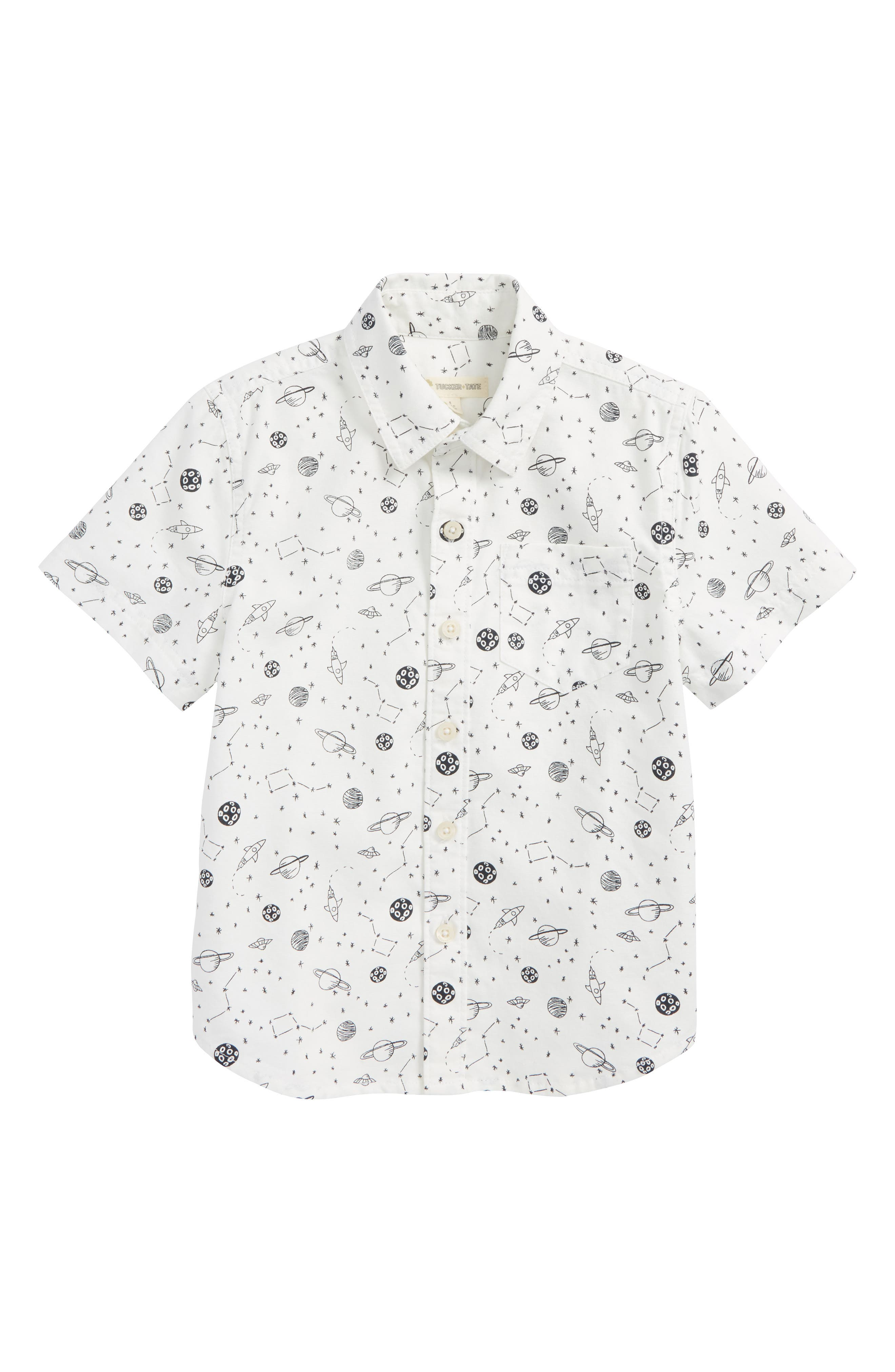 Print Woven Shirt,                             Main thumbnail 1, color,                             White Snow Outerspace
