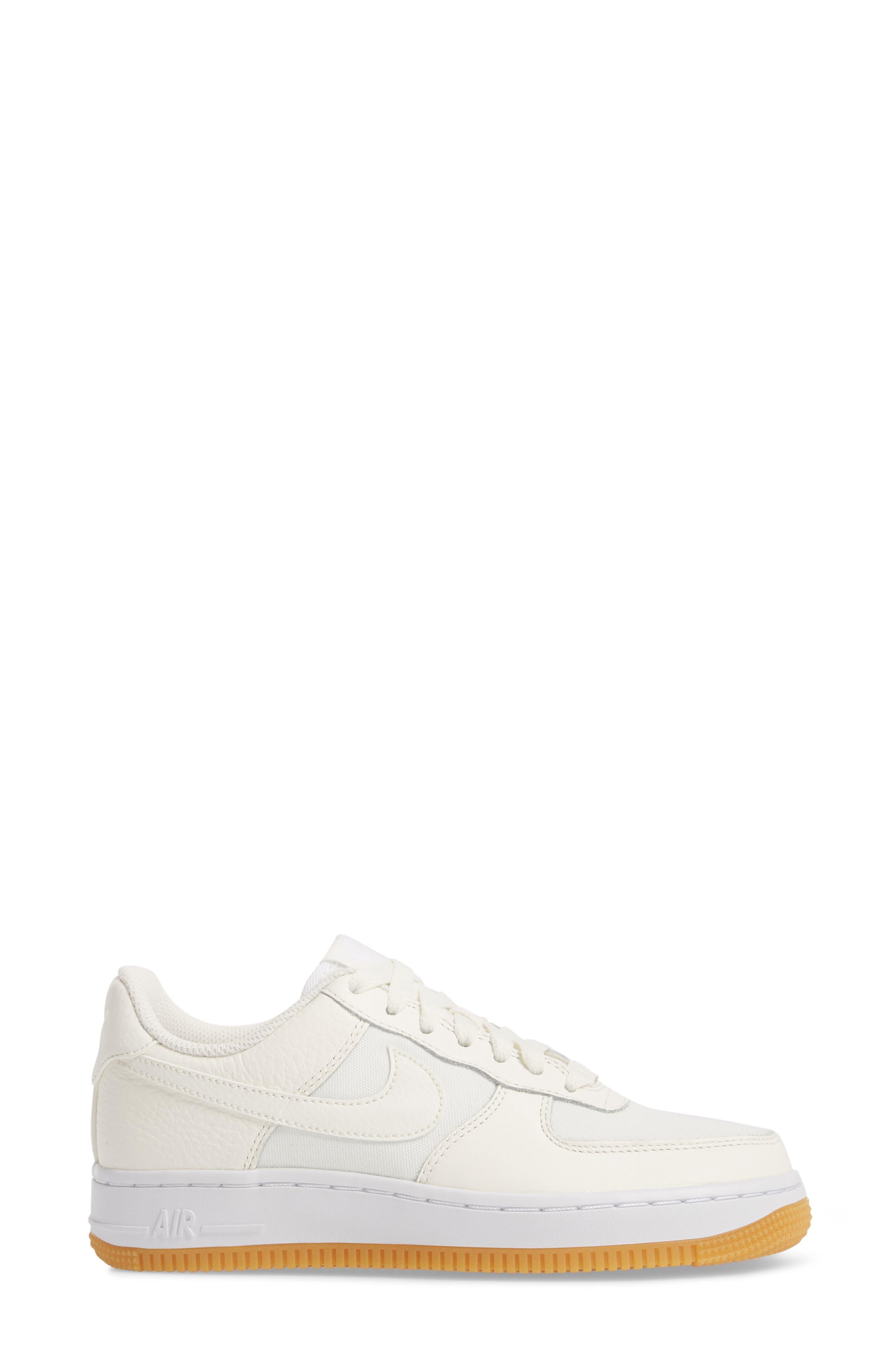 Air Force 1 '07 Premium Sneaker,                             Alternate thumbnail 3, color,                             Sail/ White/ Light Brown