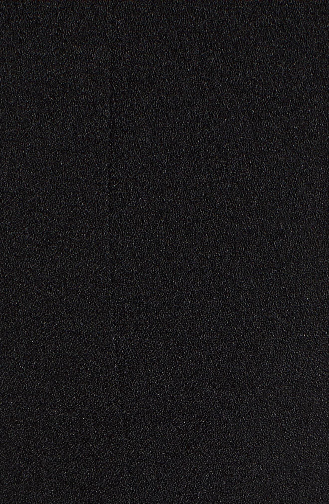 Tie Shoulder Fit & Flare Dress,                             Alternate thumbnail 6, color,                             Black
