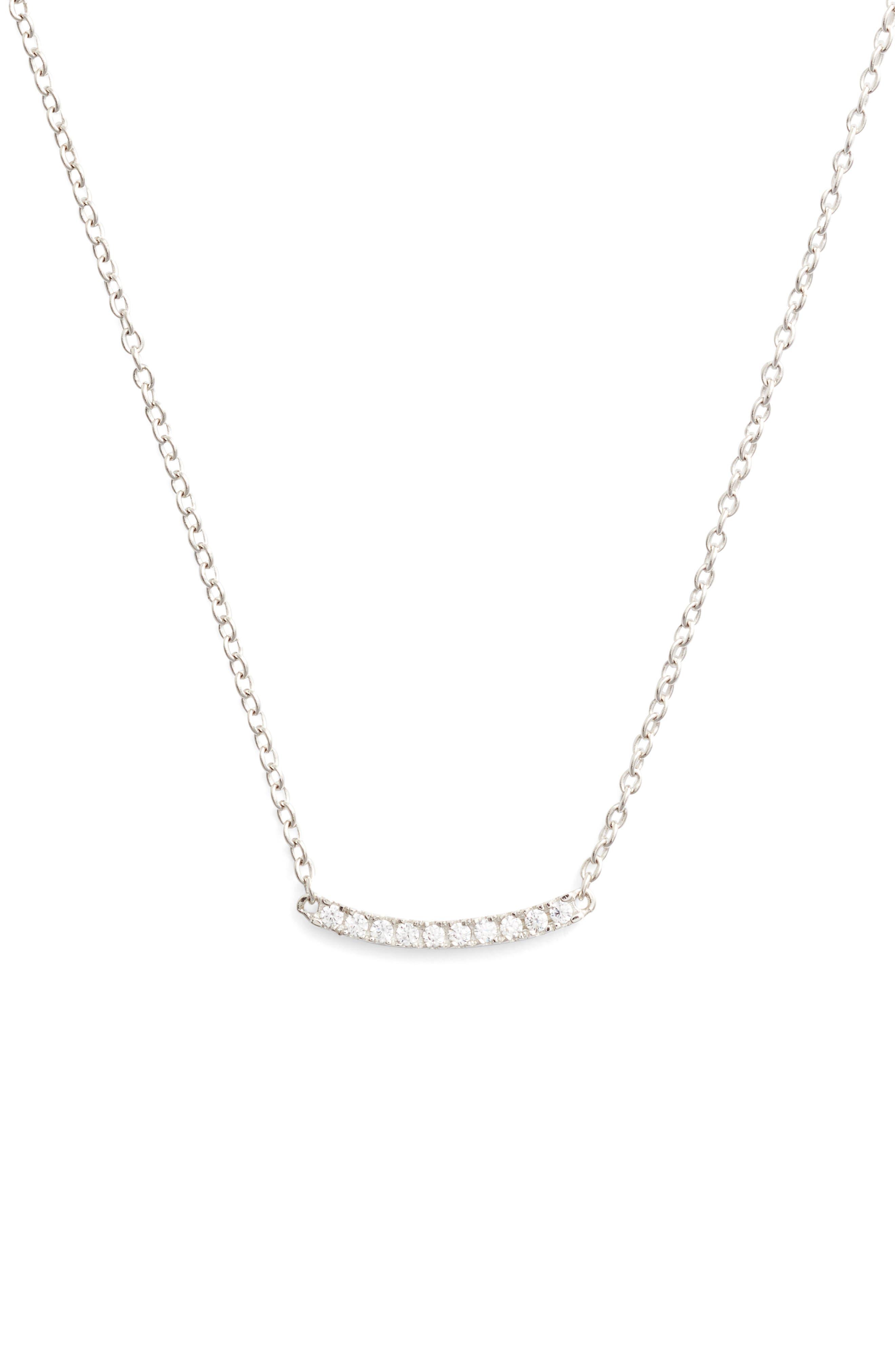 Pavé Curved Bar Pendant Necklace,                             Main thumbnail 1, color,                             Platinum
