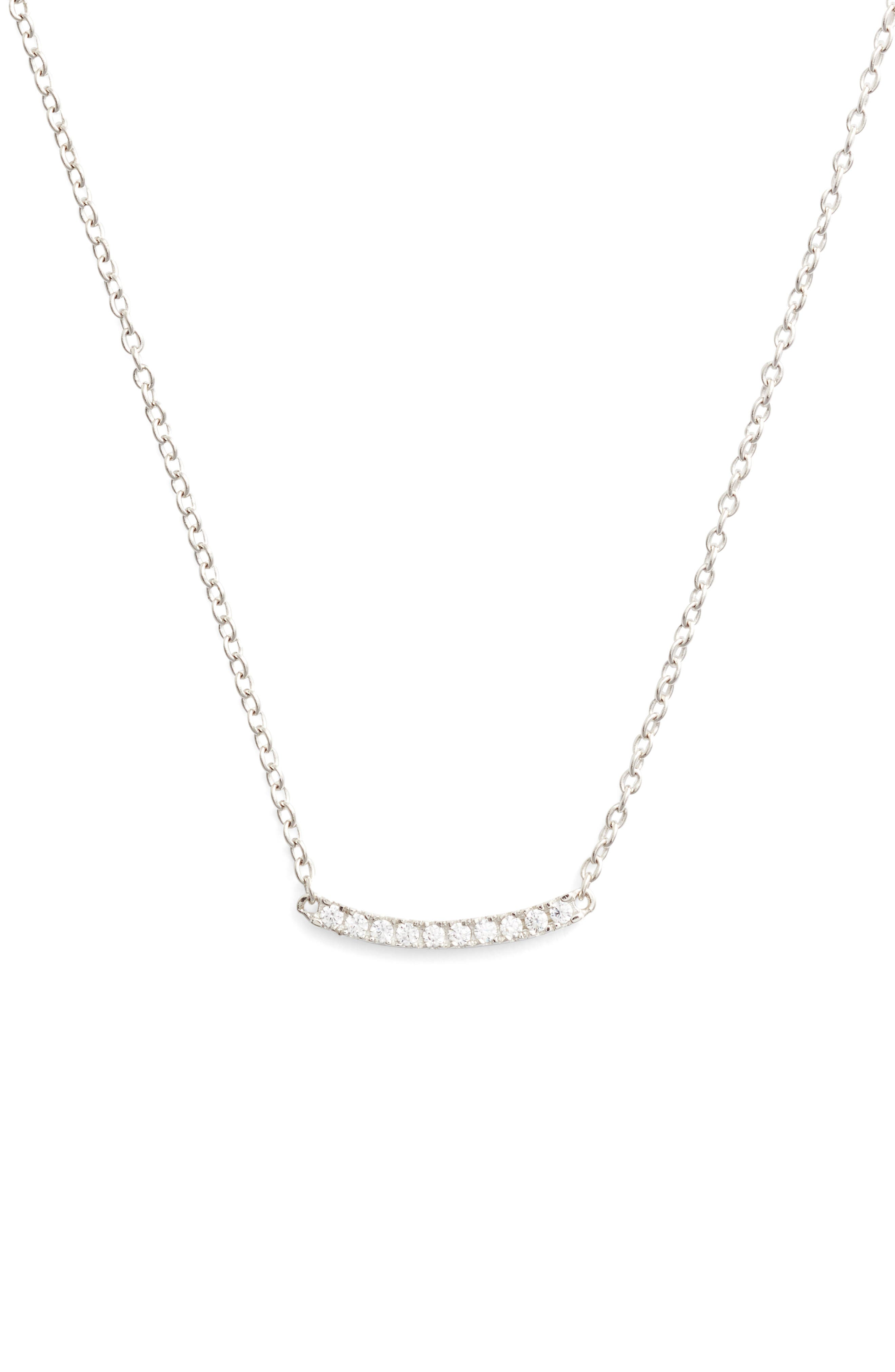 Pavé Curved Bar Pendant Necklace,                         Main,                         color, Platinum