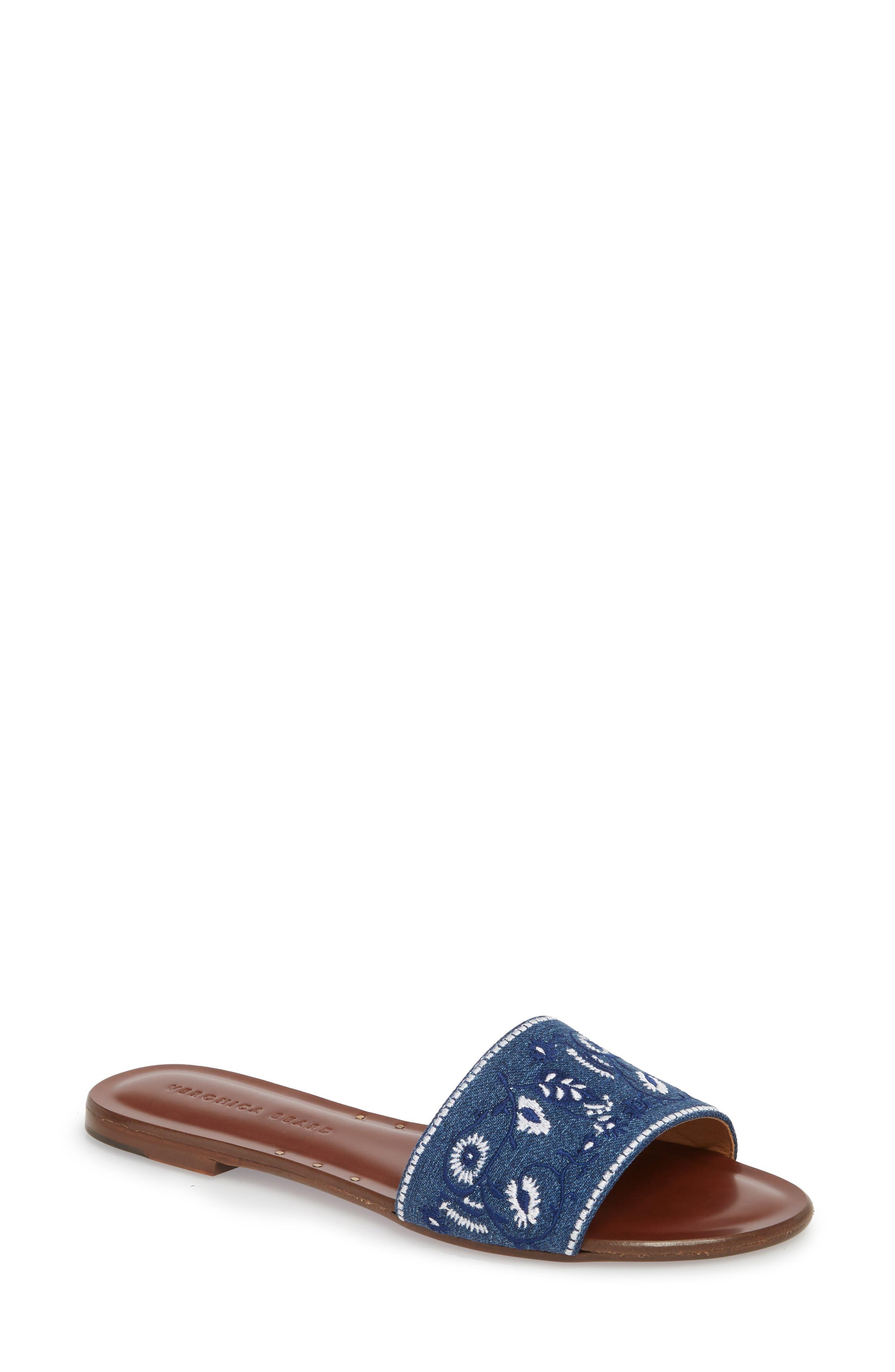 Veronica Beard Flor Embroidered Slide Sandal (Women)