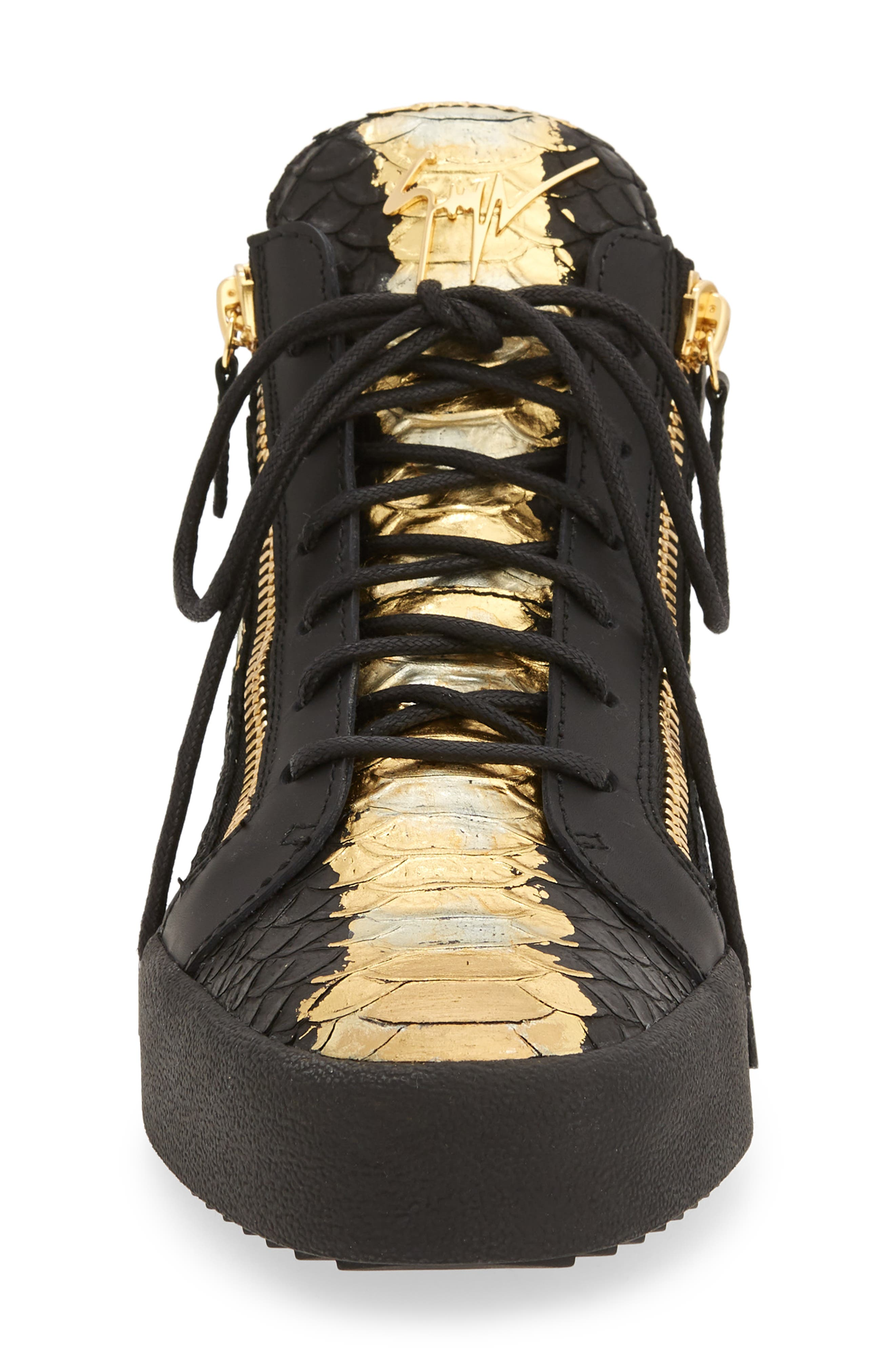 High-Top Sneaker,                             Alternate thumbnail 4, color,                             Black Leather