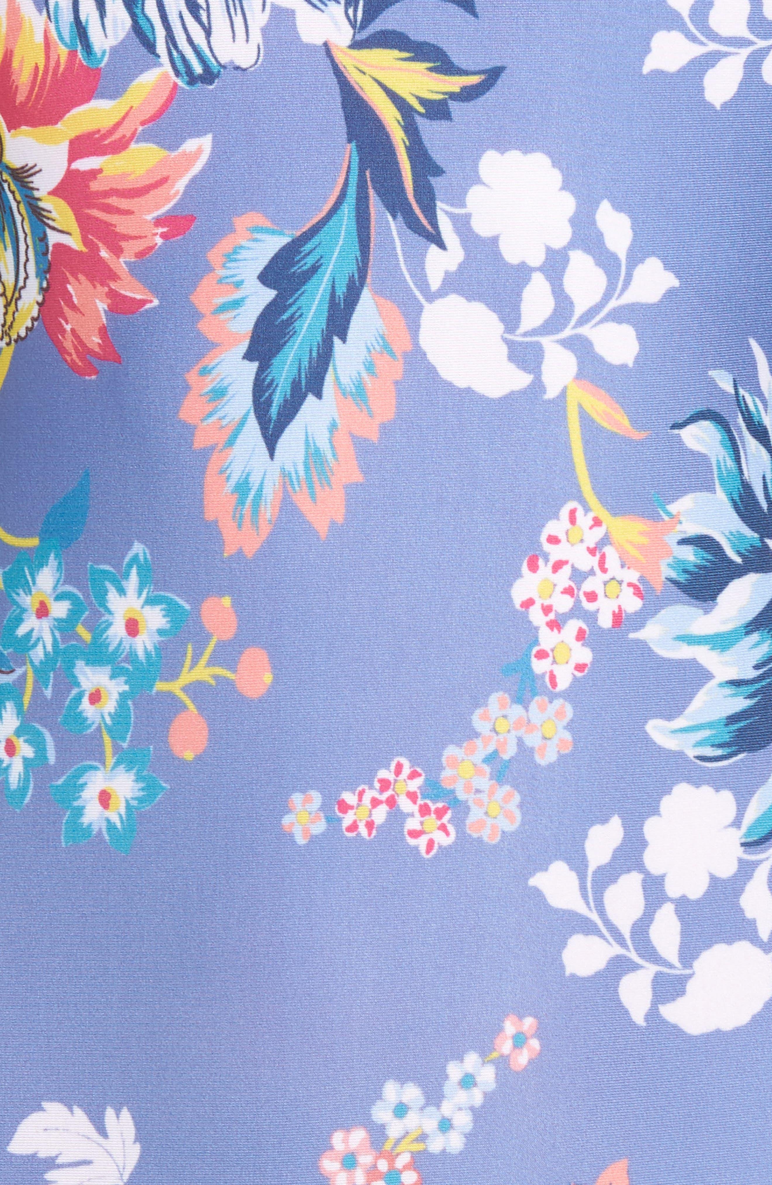 Victorian Garden Reversible One-Piece Swimsuit,                             Alternate thumbnail 5, color,                             Purple/ Blue Multi