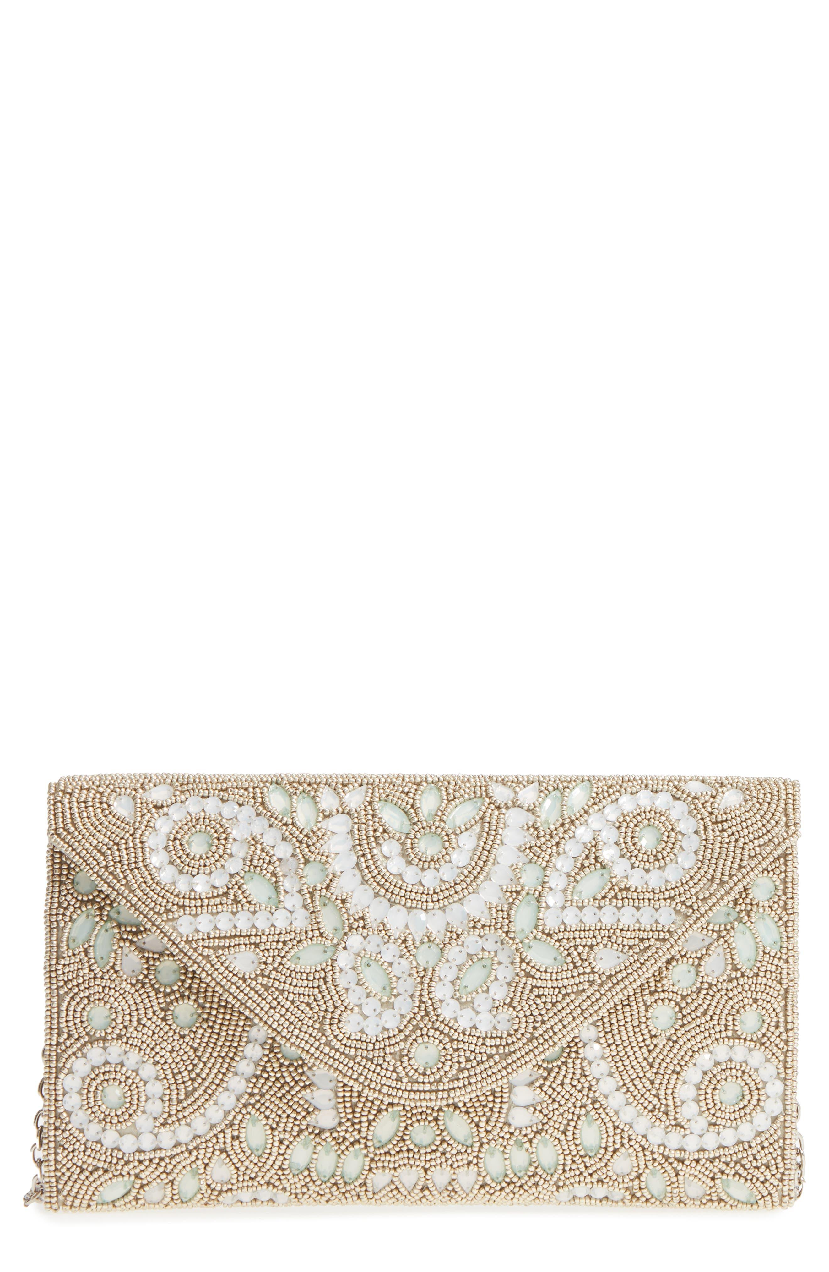 Embellished Envelope Clutch,                         Main,                         color, Silver/ Mint