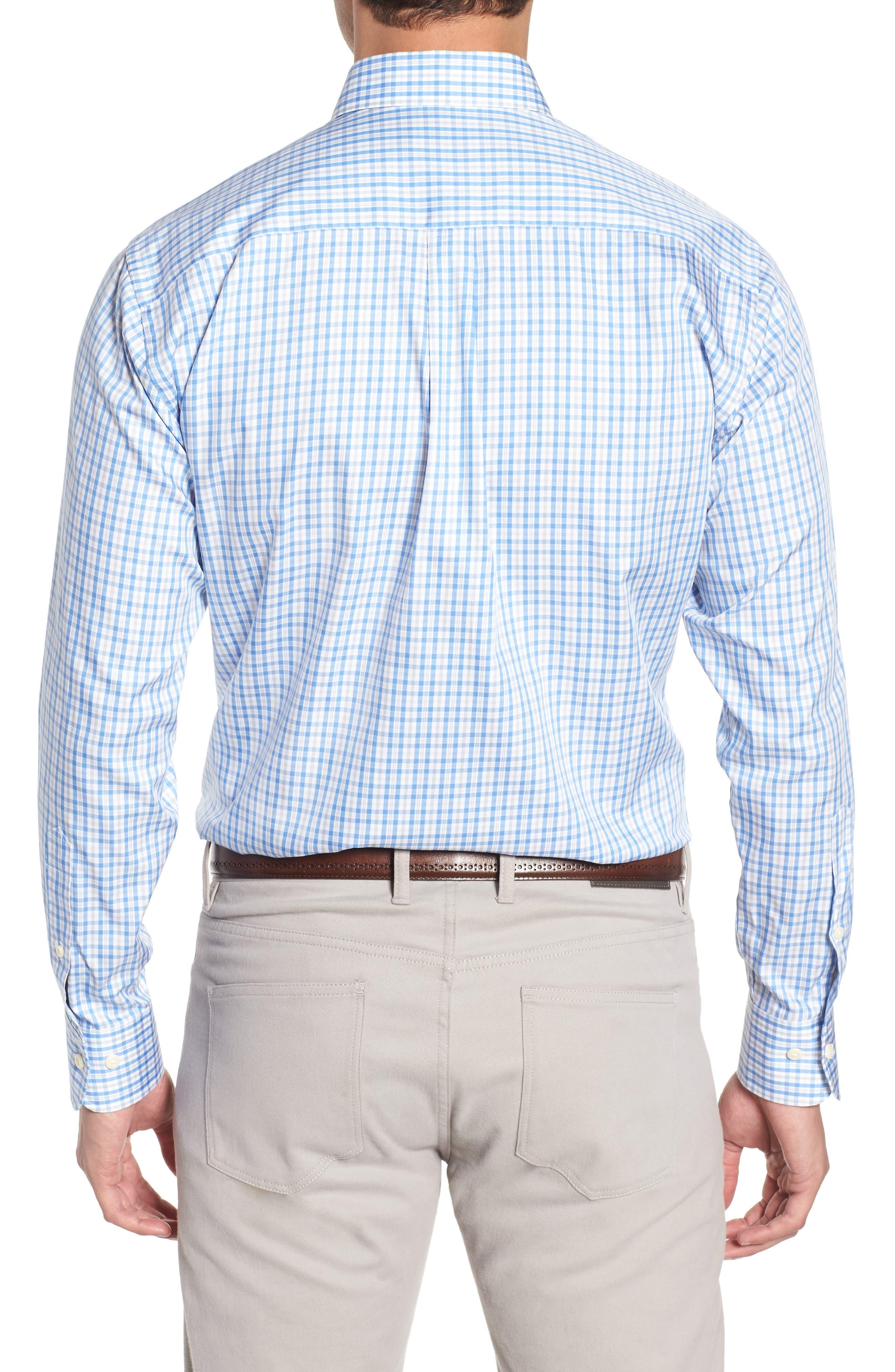 Crown Soft First Hill Plaid Sport Shirt,                             Alternate thumbnail 3, color,                             Marina Blue
