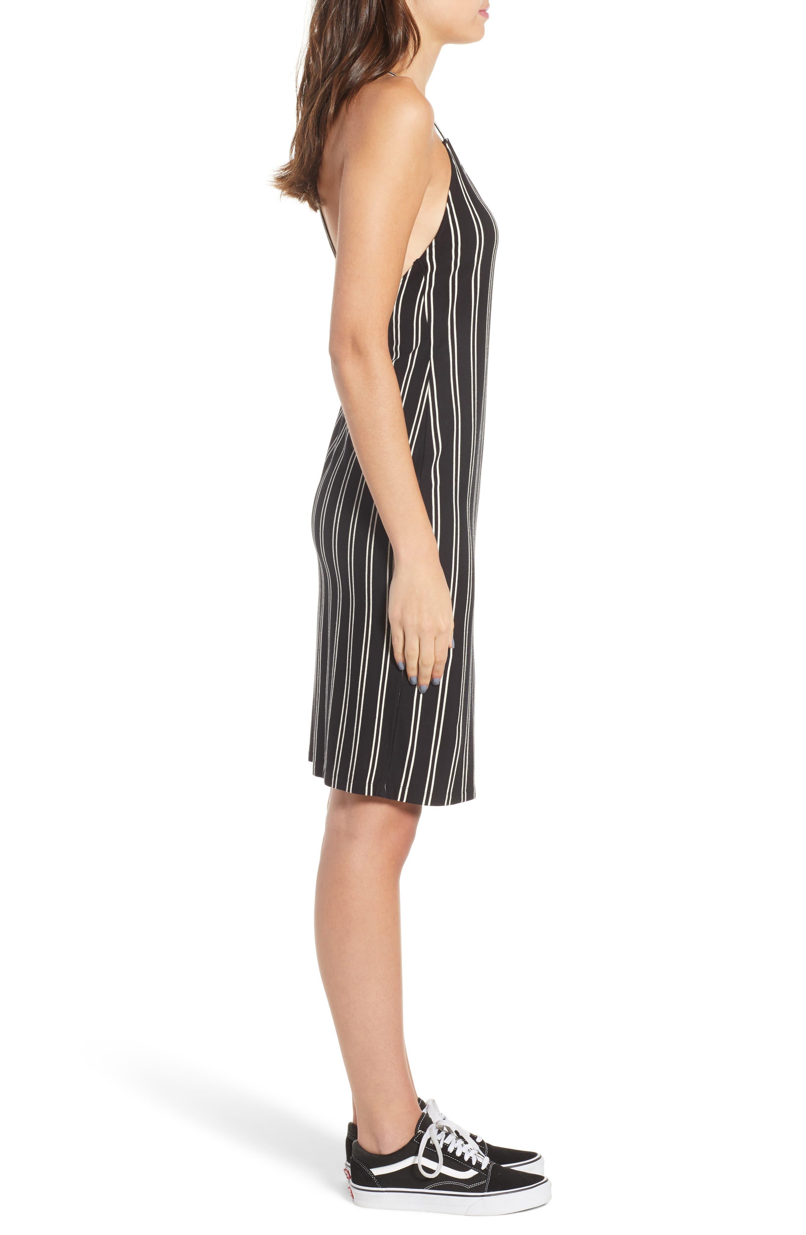 Lockette Strappy Striped Dress,                             Alternate thumbnail 3, color,                             Jet Black Multi