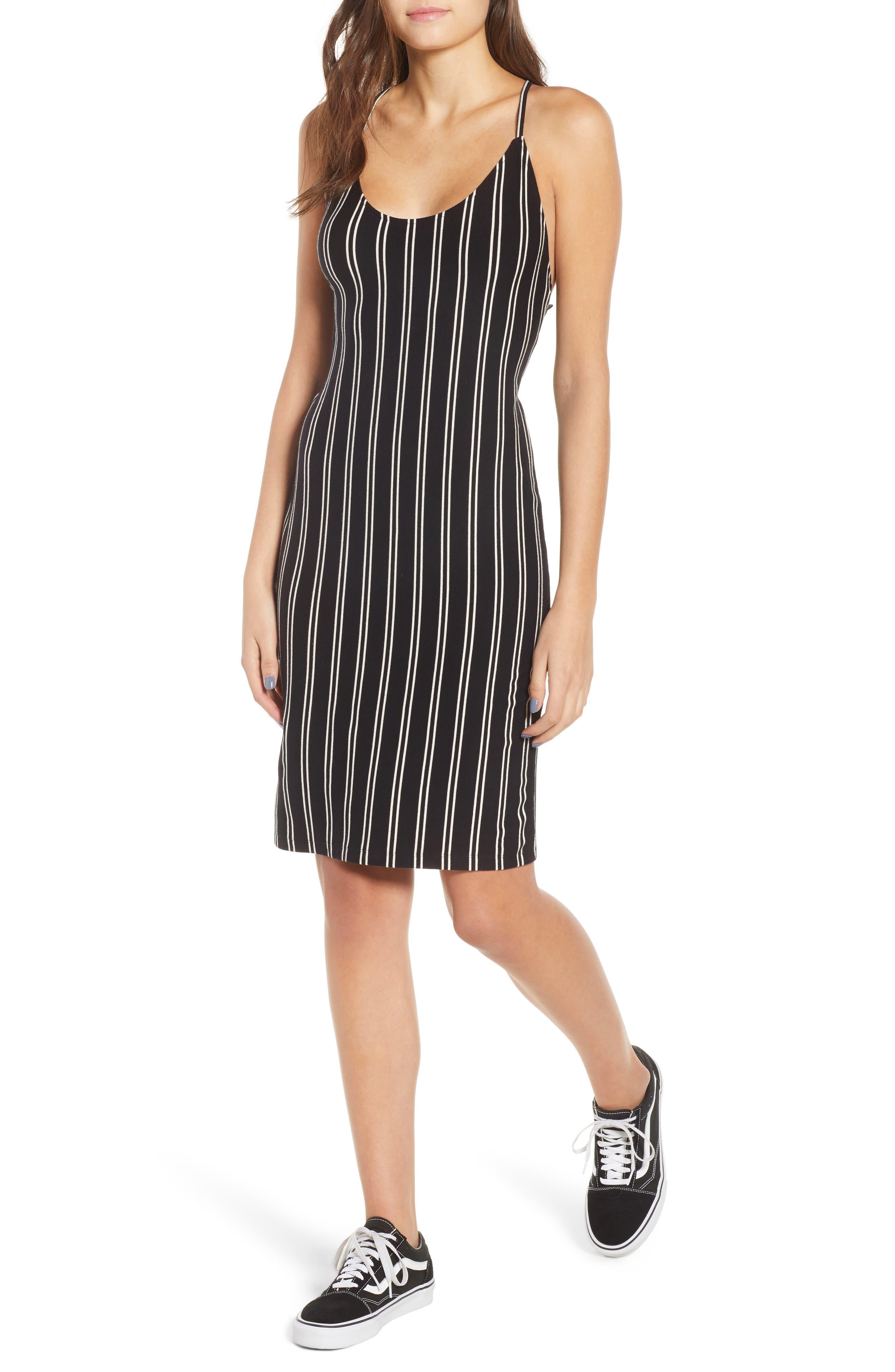 Lockette Strappy Striped Dress,                             Main thumbnail 1, color,                             Jet Black Multi