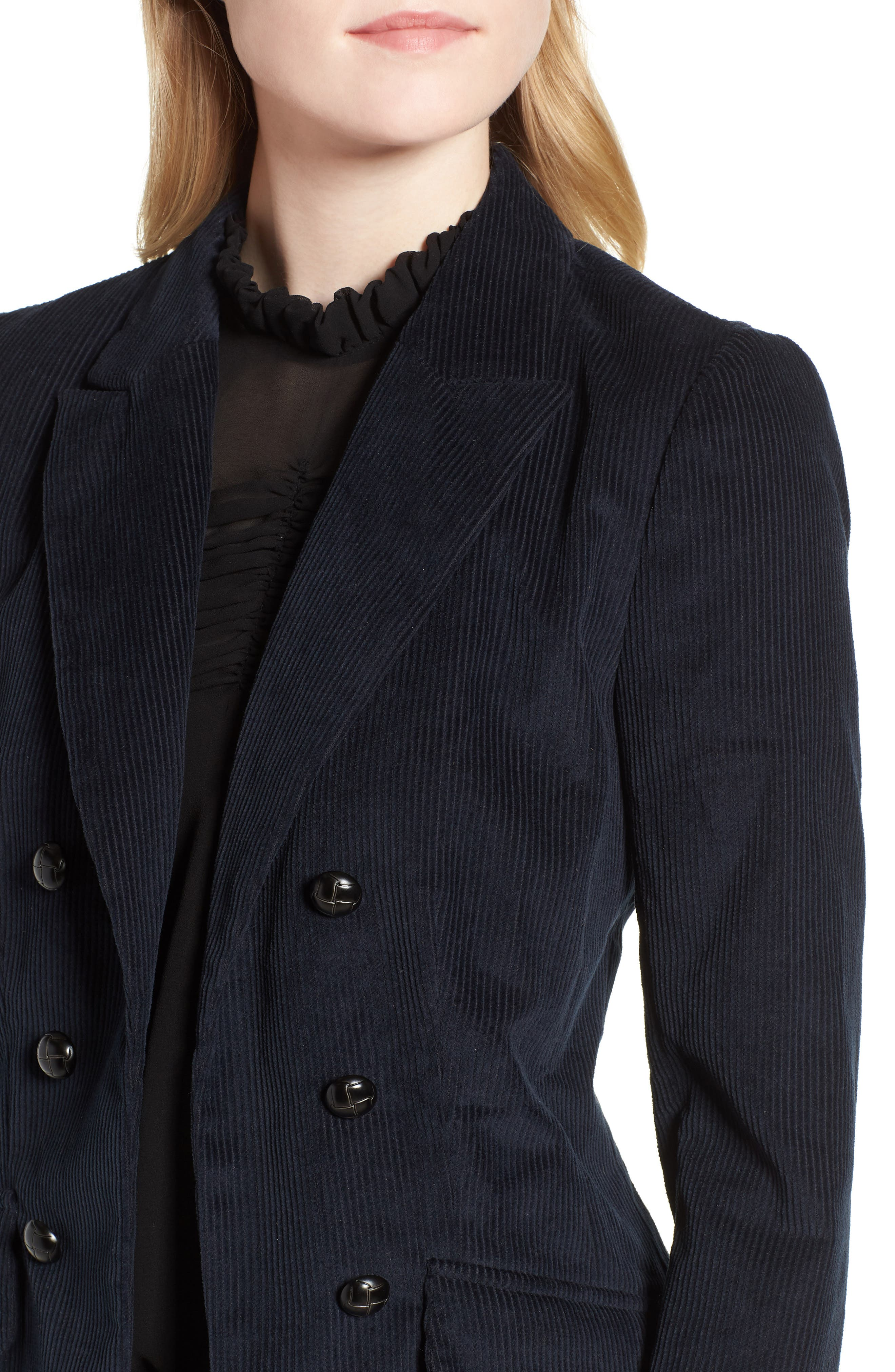 Double Breasted Corduroy Blazer,                             Alternate thumbnail 4, color,                             Navy Sapphire