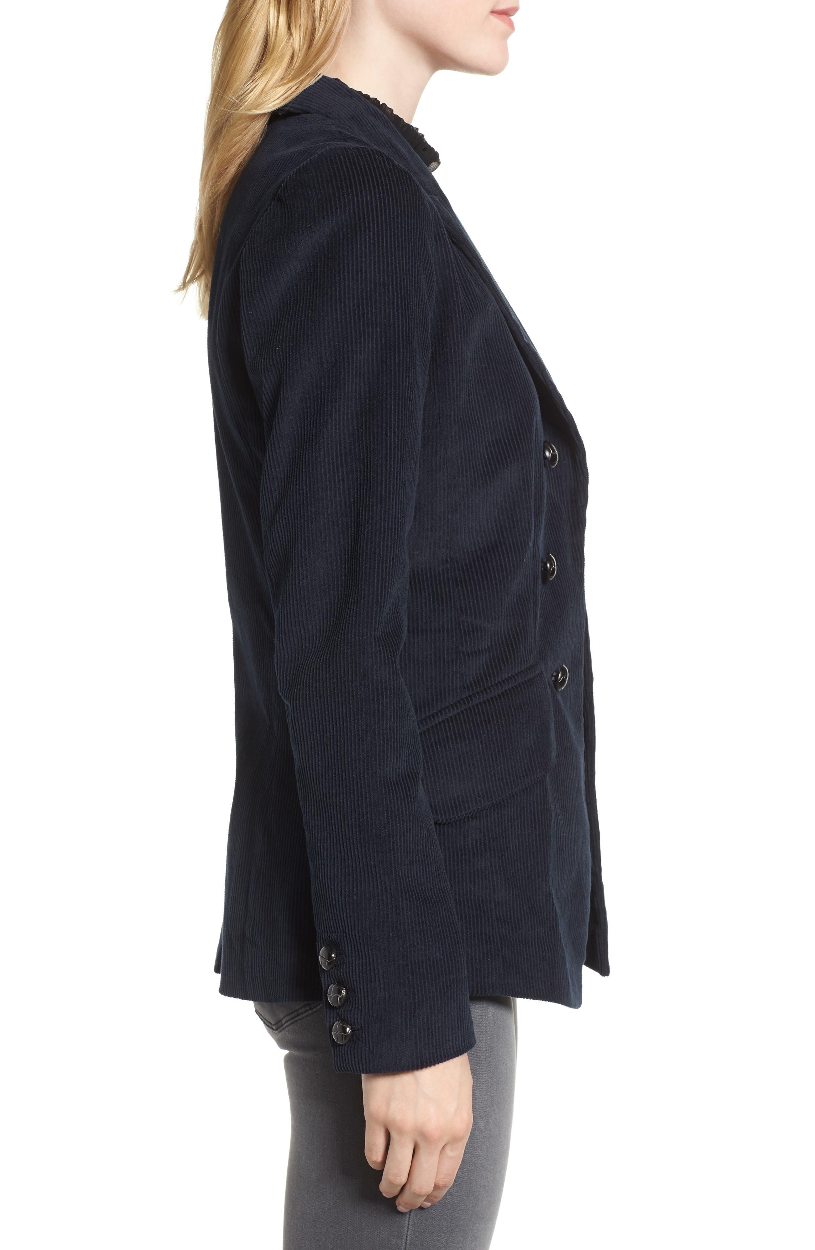 Double Breasted Corduroy Blazer,                             Alternate thumbnail 3, color,                             Navy Sapphire