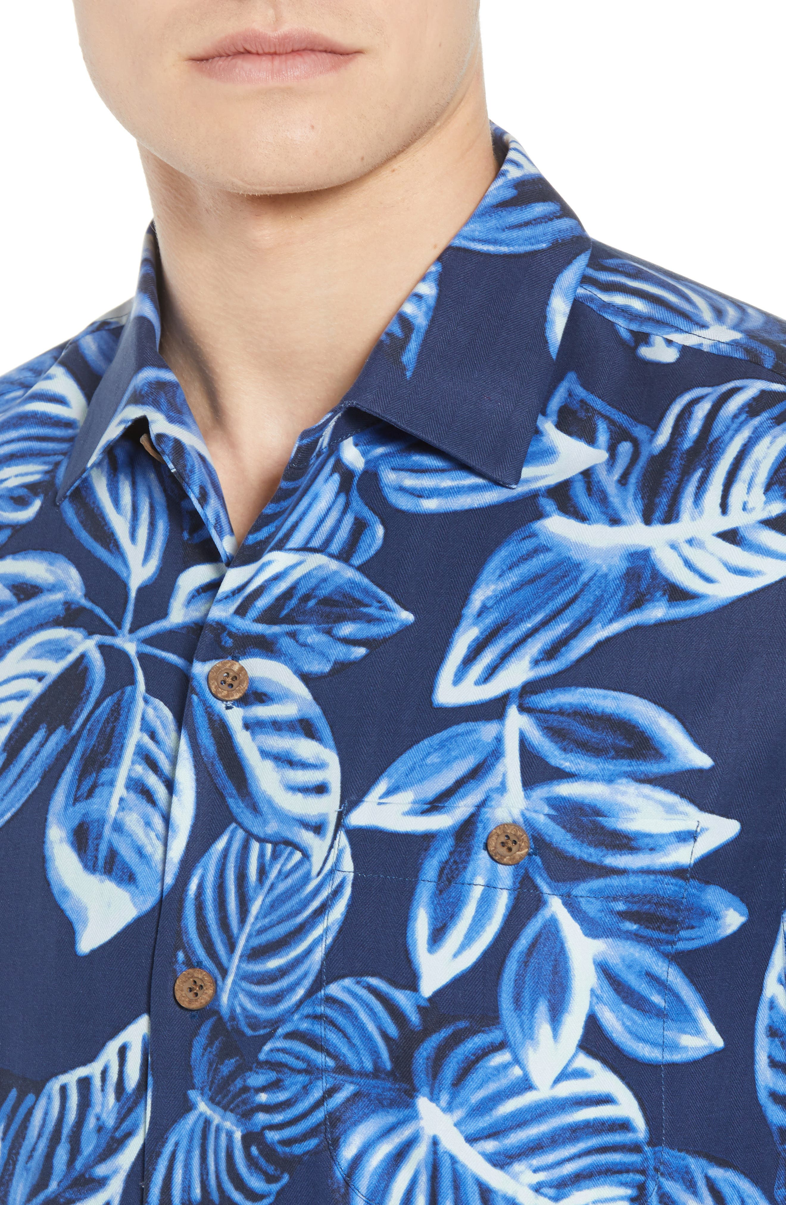 Luna Leaves Silk Camp Shirt,                             Alternate thumbnail 2, color,                             Ocean Deep