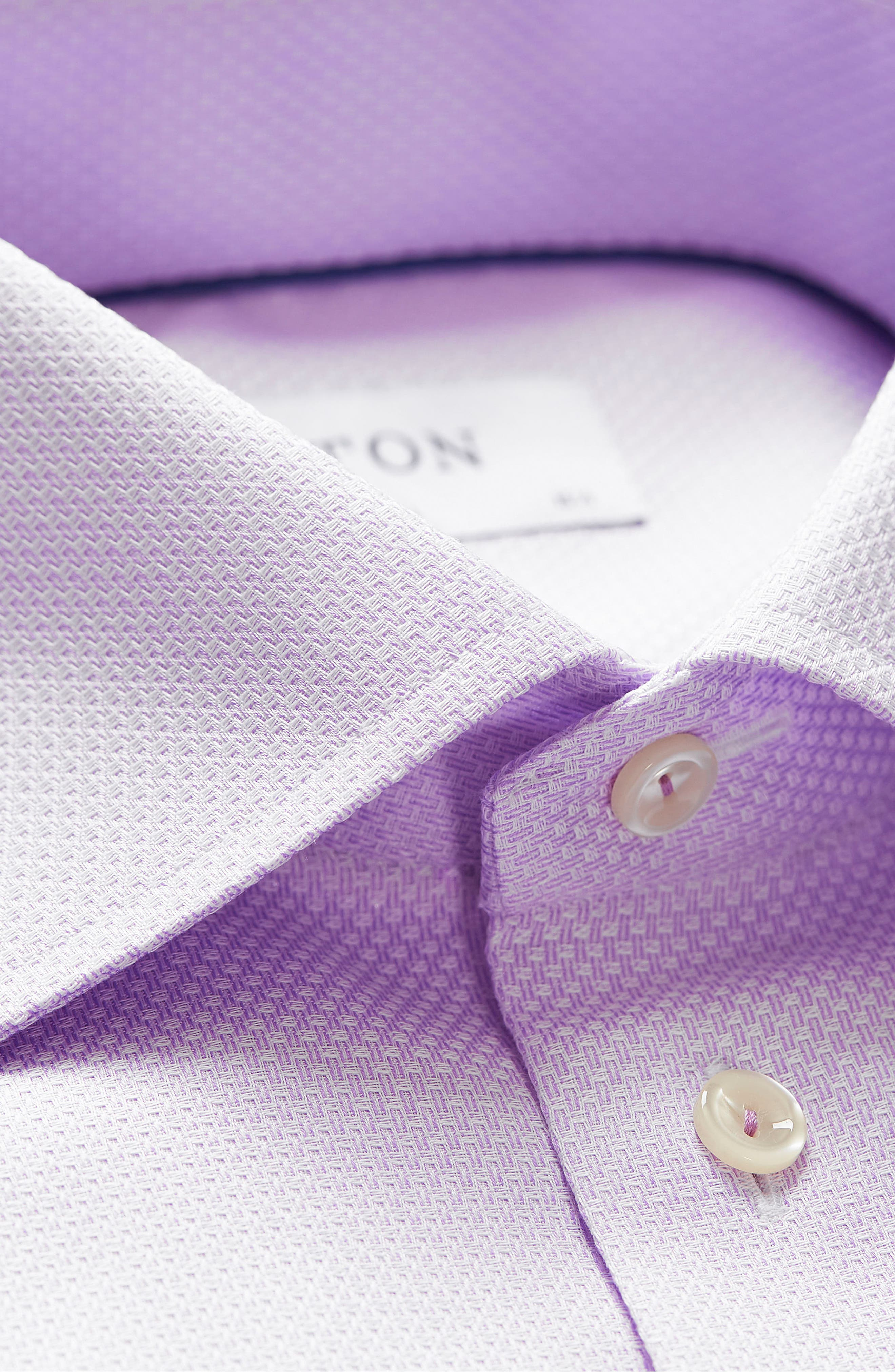 Slim Fit Textured Solid Dress Shirt,                             Alternate thumbnail 5, color,                             Purple