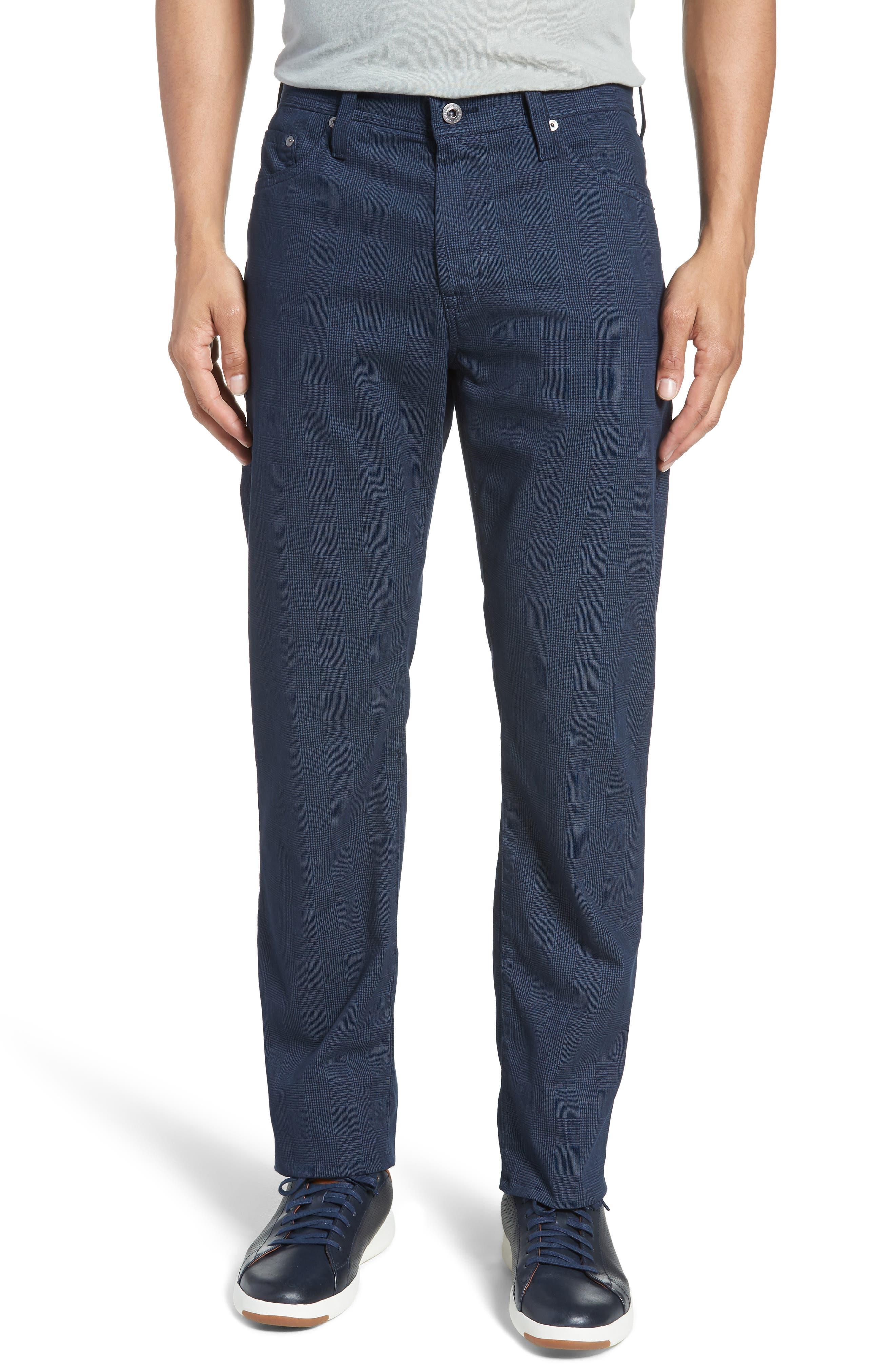 Herringbone Everett SUD Straight Leg Pants,                             Main thumbnail 1, color,                             Fine Plaid Blue Vault