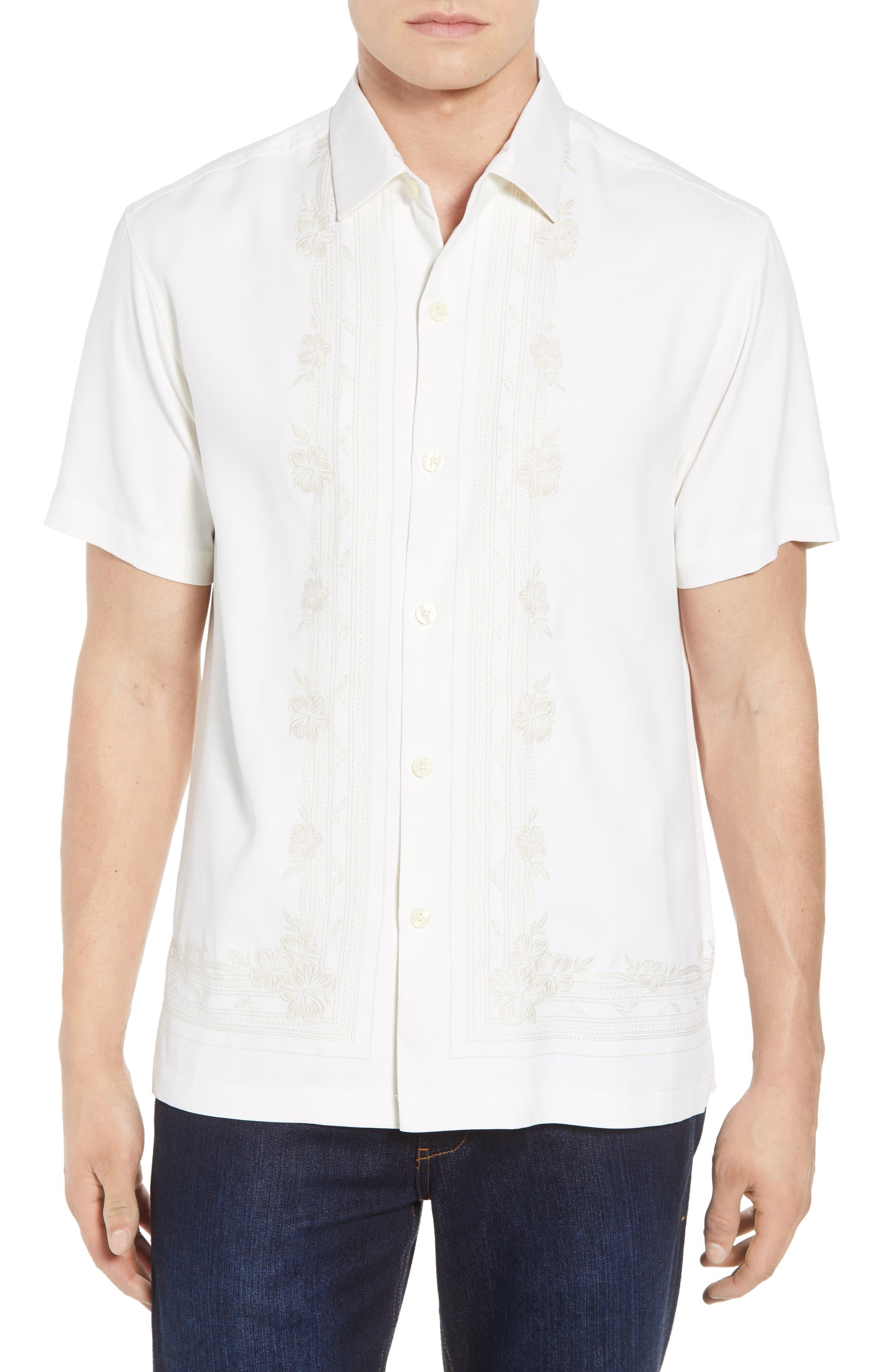 Cambio Tiles Silk Camp Shirt,                         Main,                         color, Continental