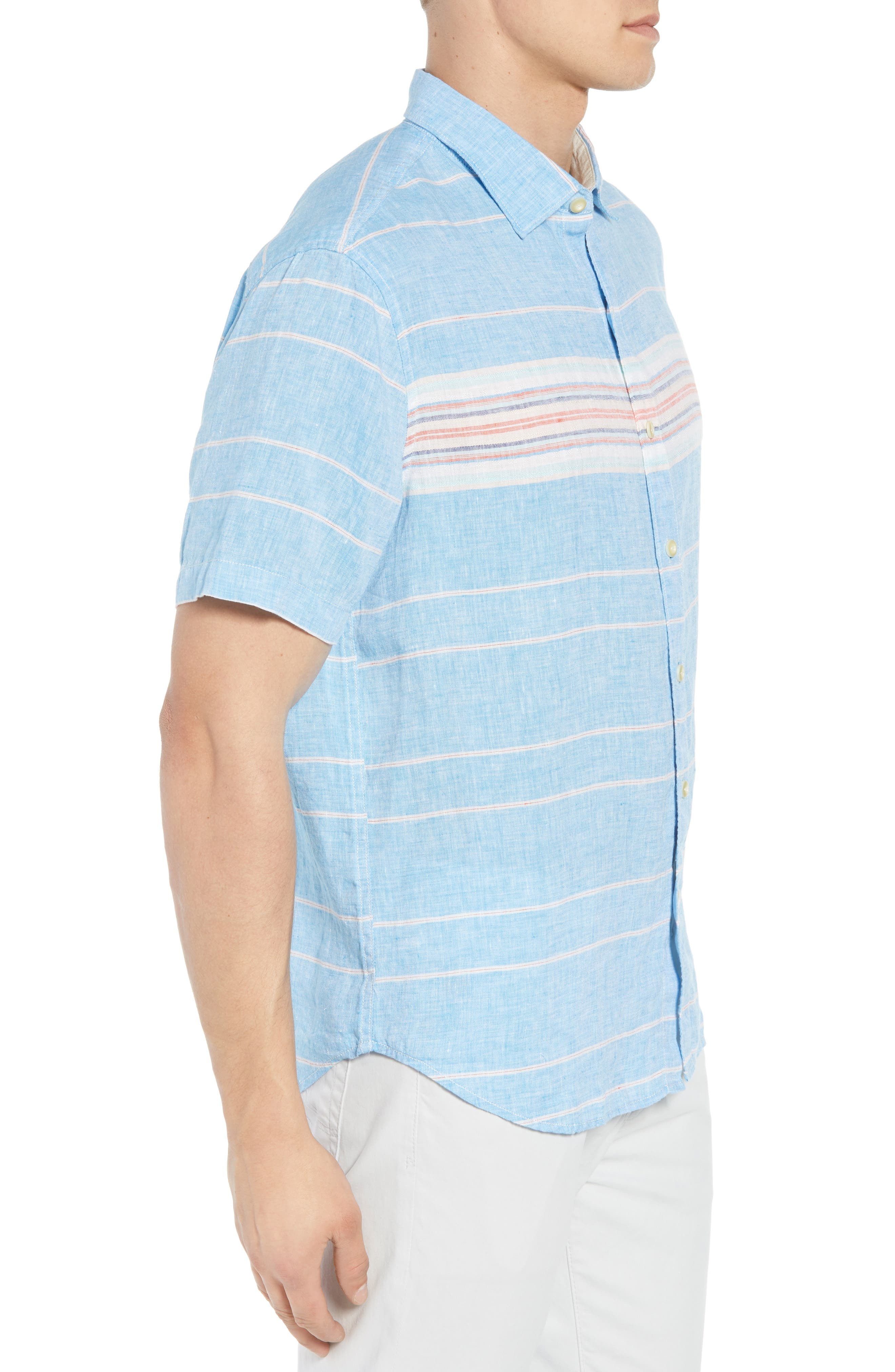 Serape Stripe Linen Sport Shirt,                             Alternate thumbnail 4, color,                             Blue Aster