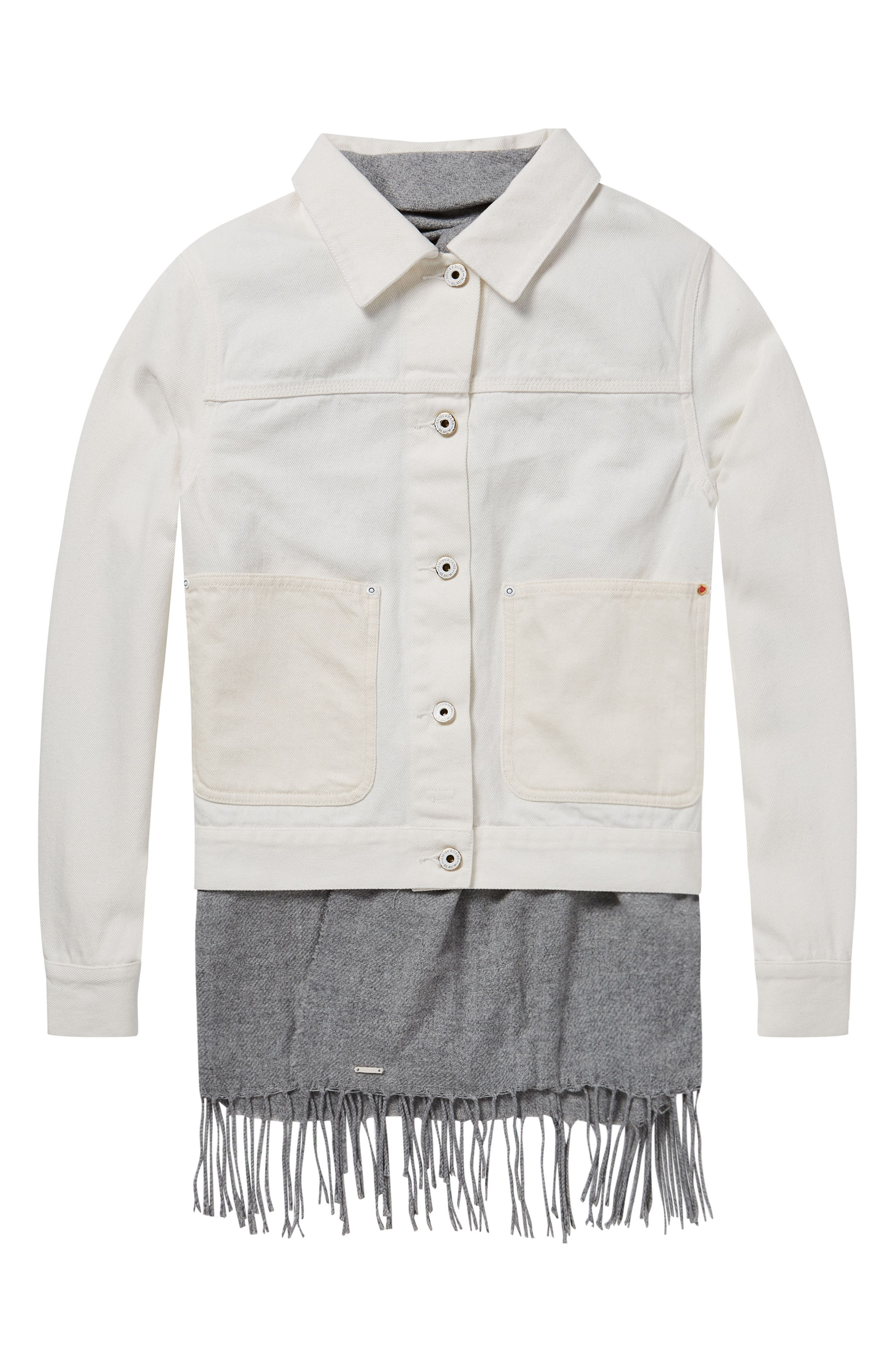 Moon Embroidered Denim Jacket with Scarf,                             Alternate thumbnail 3, color,                             03 Off White