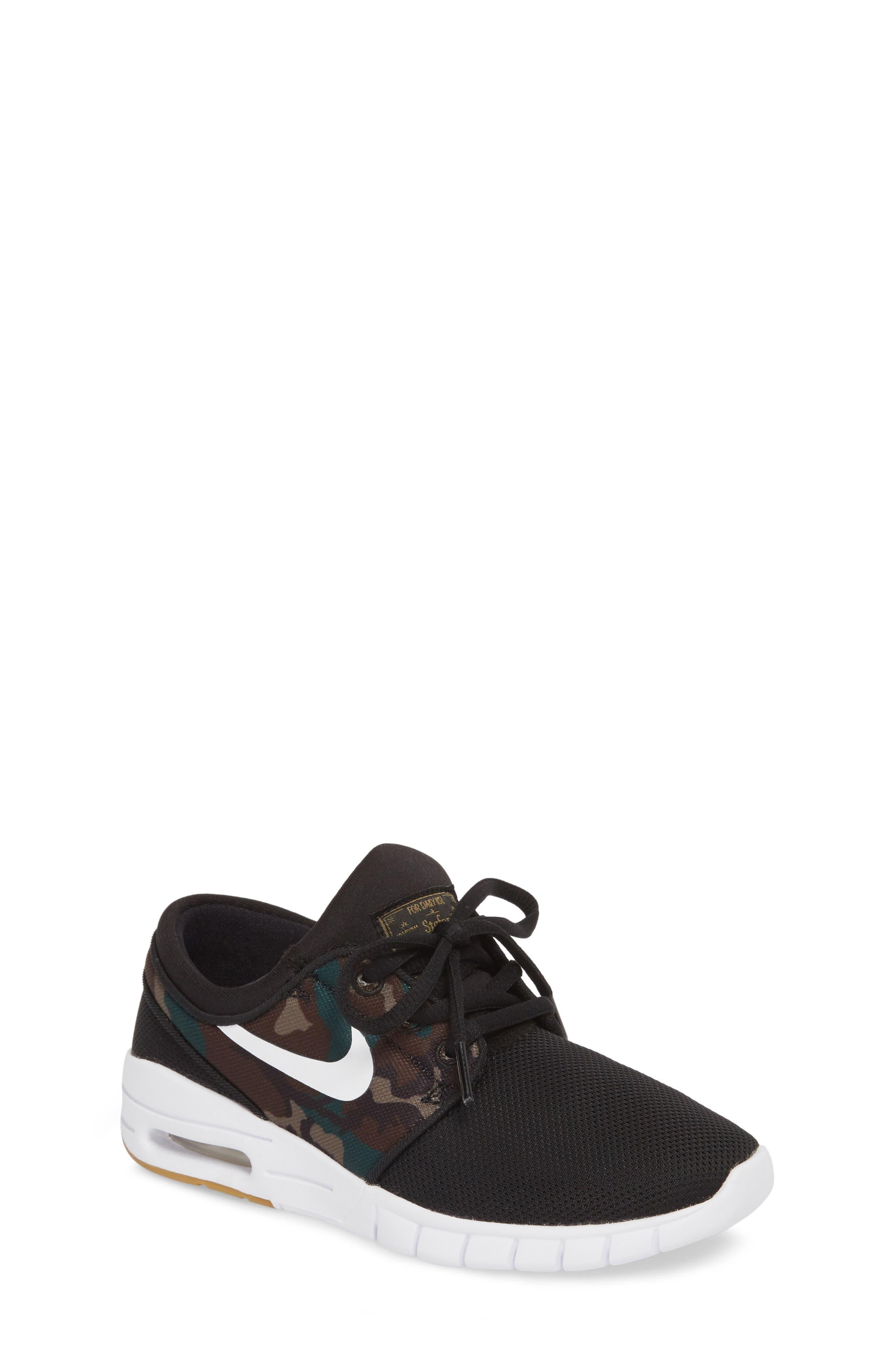 Stefan Janoski Max SB Skate Sneaker,                         Main,                         color, Black/ White/ Olive/ Brown