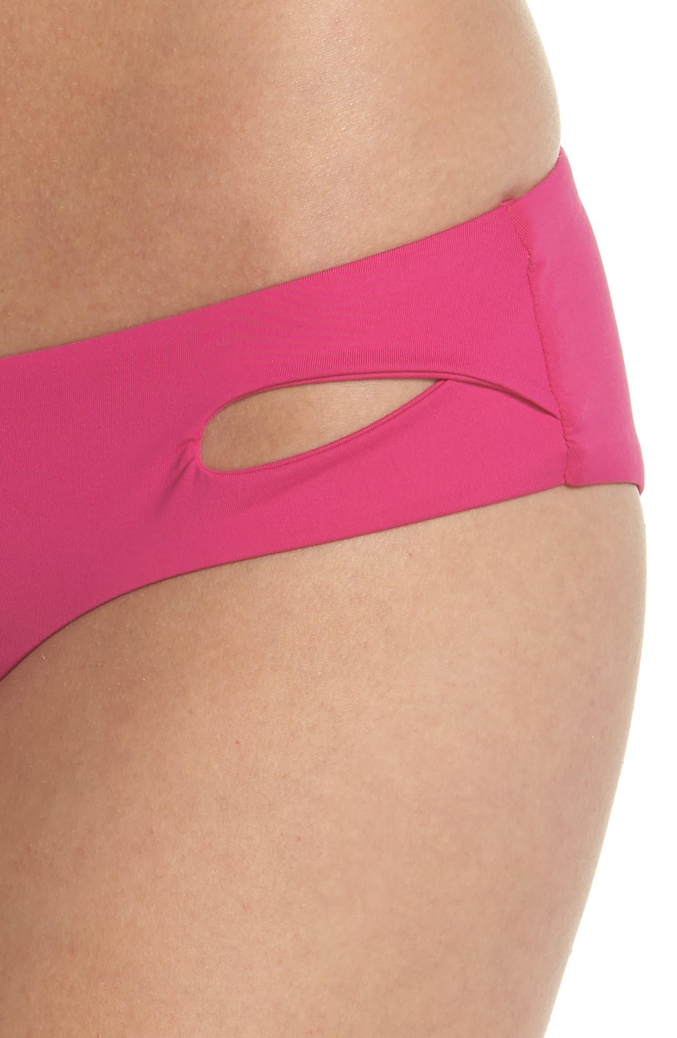 Color Code Hipster Bikini Bottoms,                             Alternate thumbnail 4, color,                             Flamingo