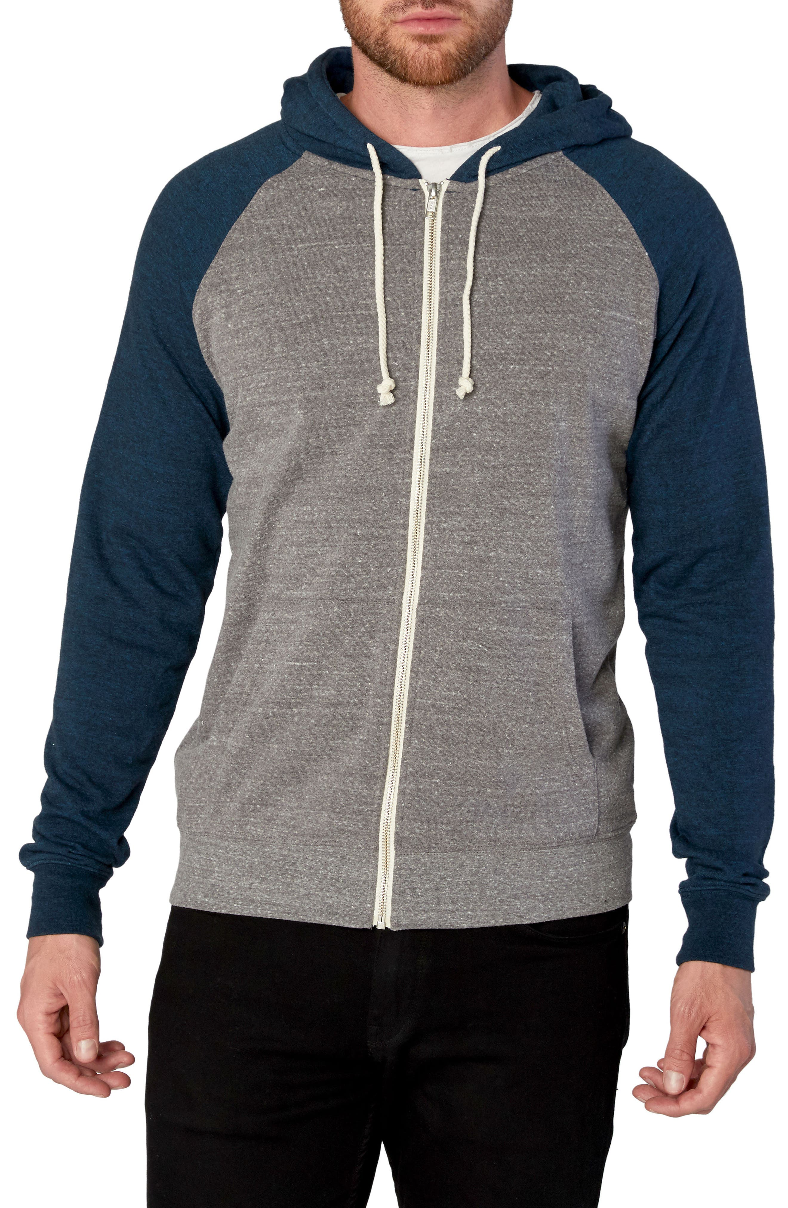 Threads for Thought Raglan Hoodie,                         Main,                         color, Heather Grey/ Midnight