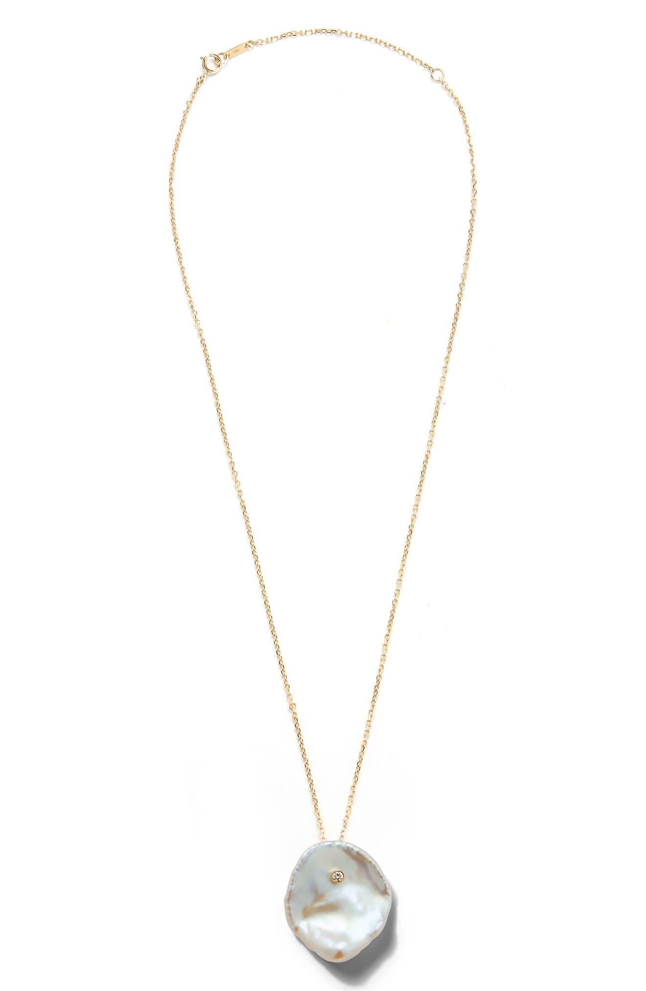 Mizuki Flat Pearl & Diamond Pendant Necklace
