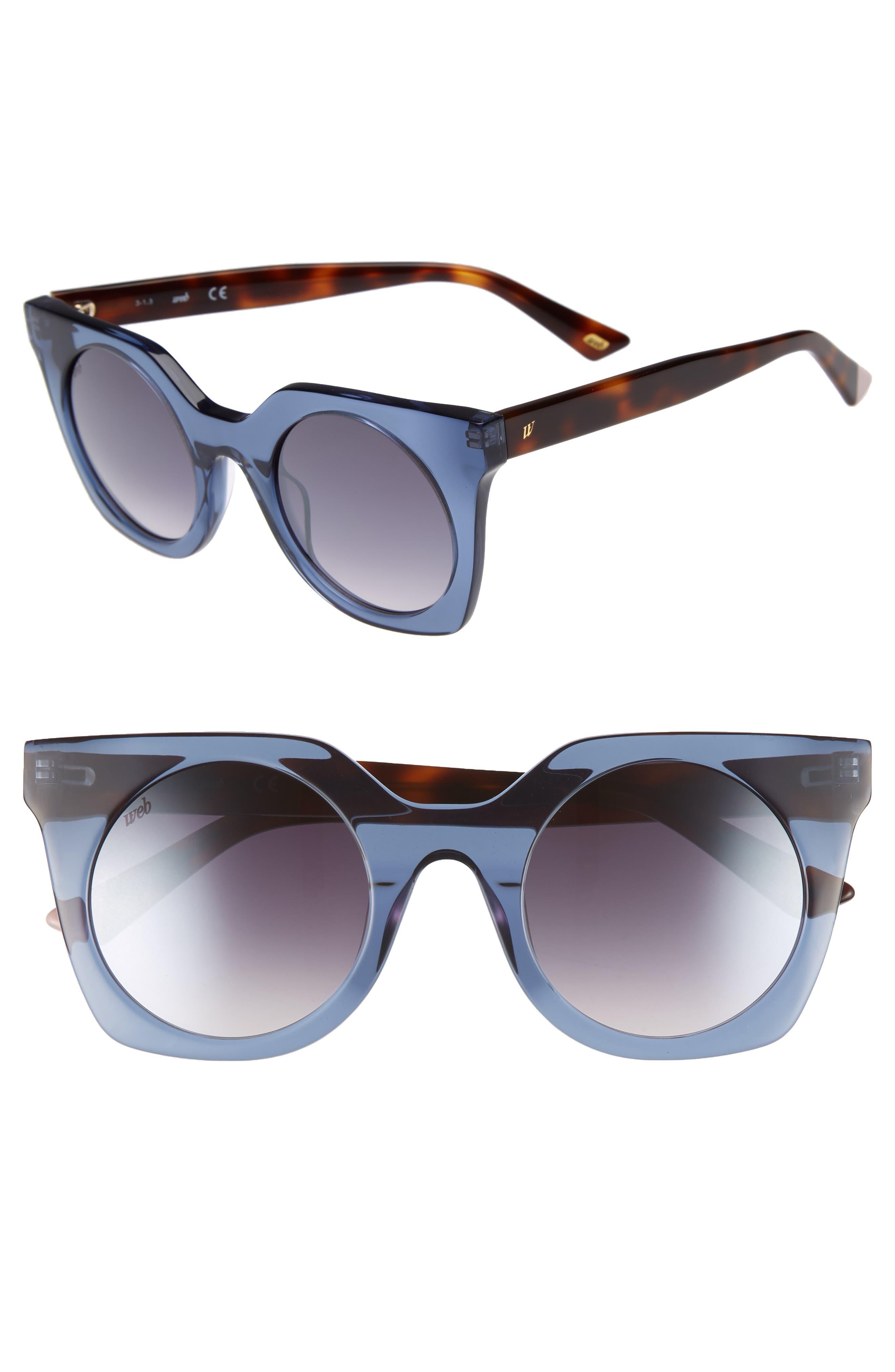 48mm Sunglasses,                         Main,                         color, Shiny Blue/ Blue Mirror