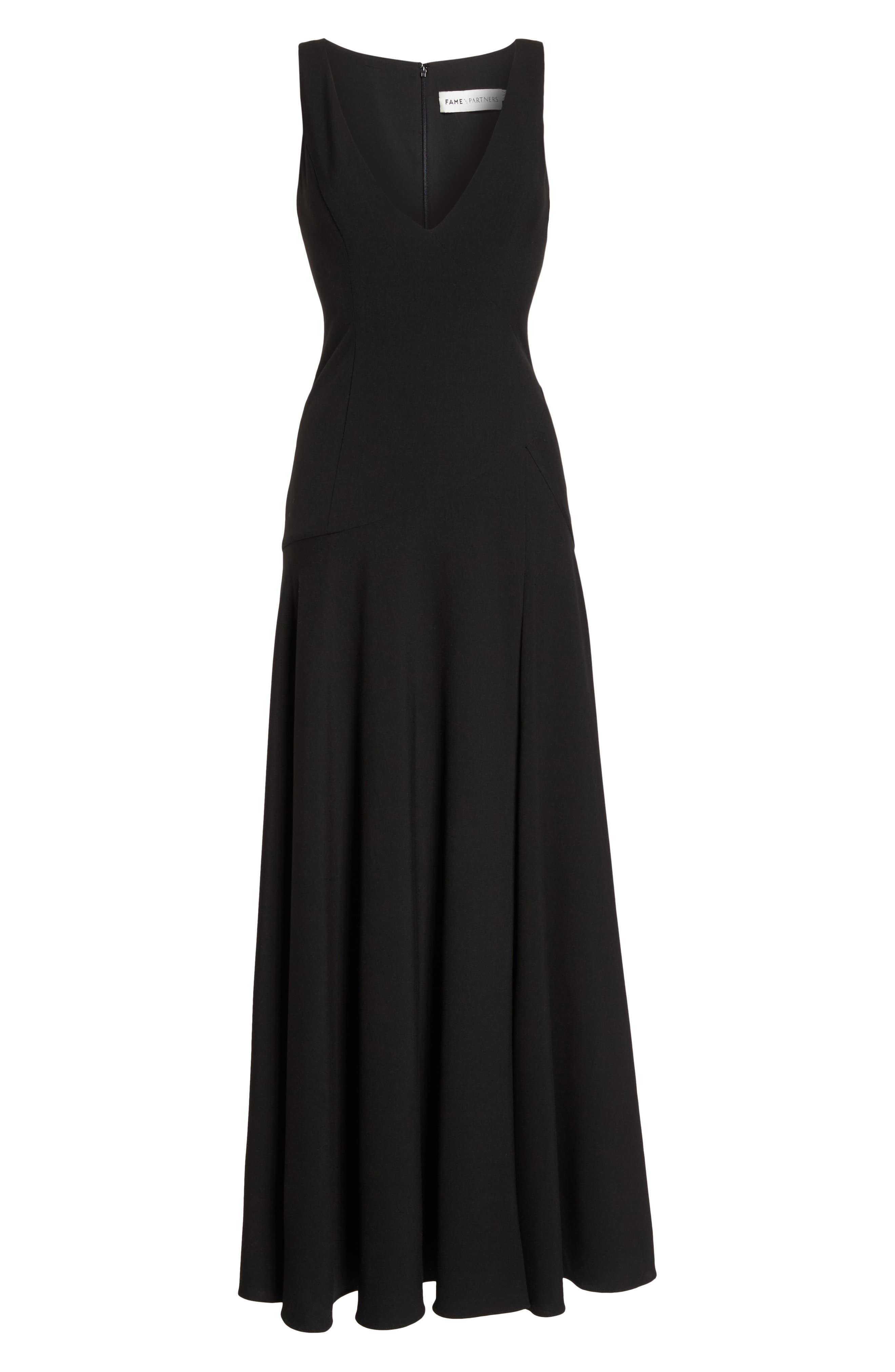 Fame & Partners The Hazel Front Slit Gown,                             Alternate thumbnail 6, color,                             Black