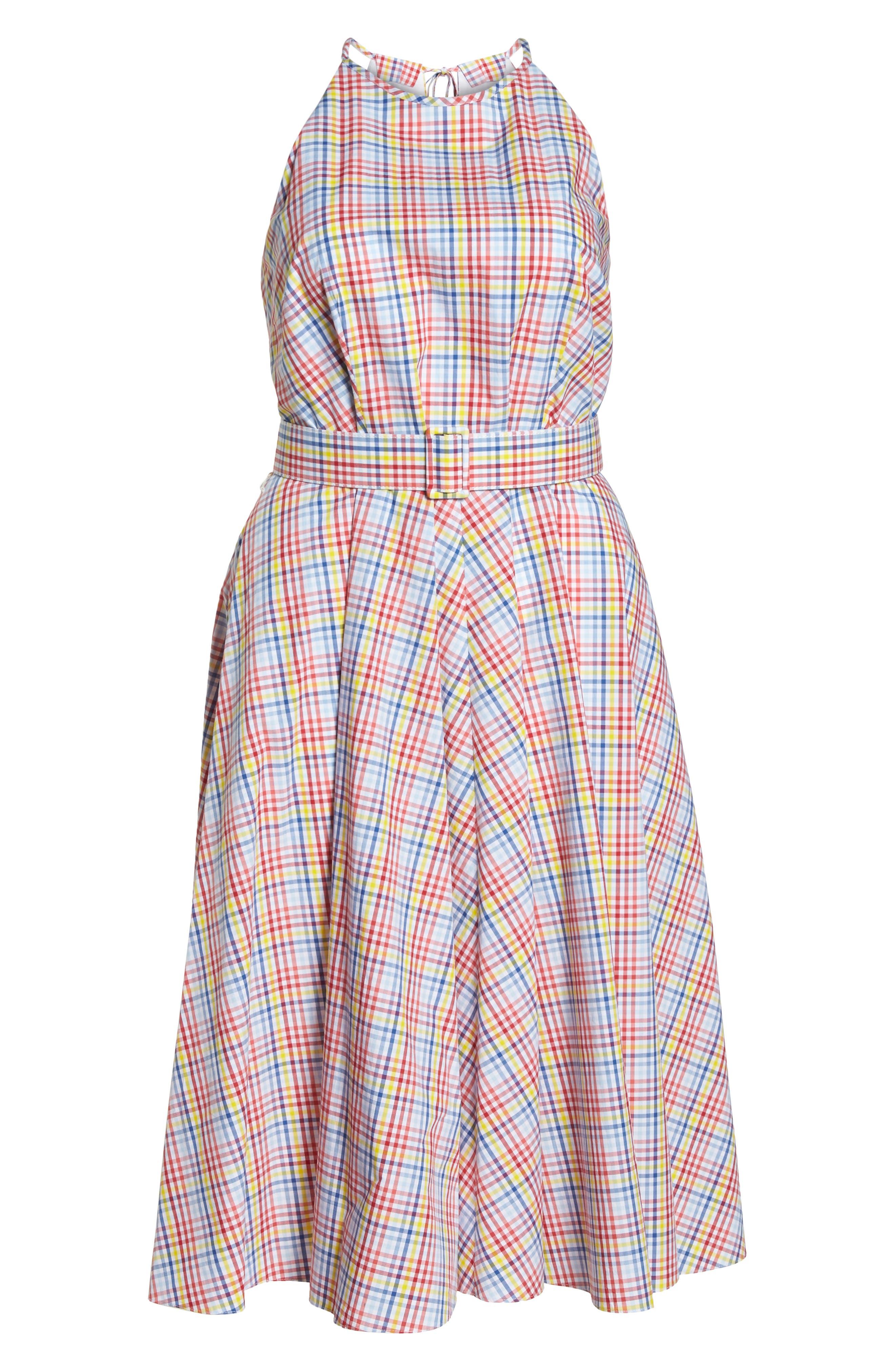 Check Halter Midi Fit & Flare Dress,                             Alternate thumbnail 8, color,                             Red