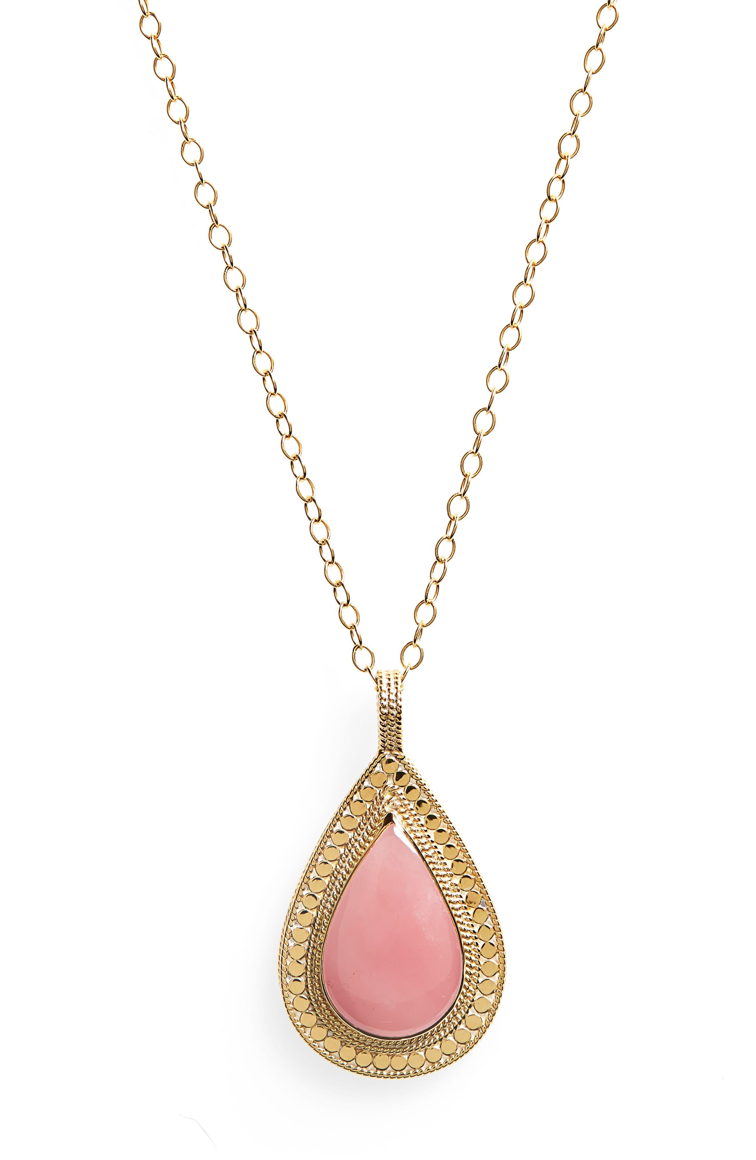 Guava Quartz Double-Sided Necklace,                             Alternate thumbnail 2, color,                             Gold/ Guava Quartz